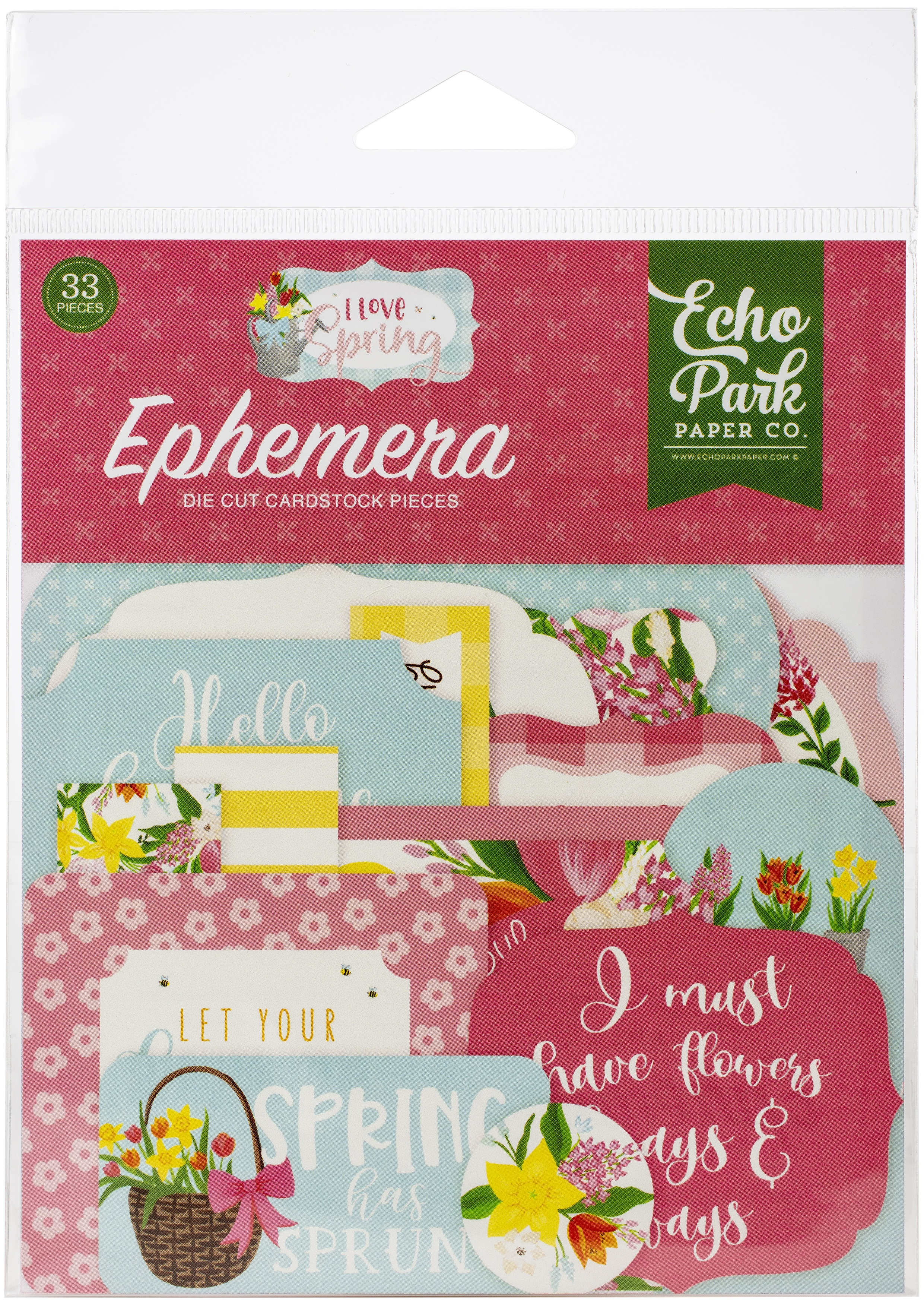 Echo Park Cardstock Ephemera 33/Pkg-Icons, I Love Spring