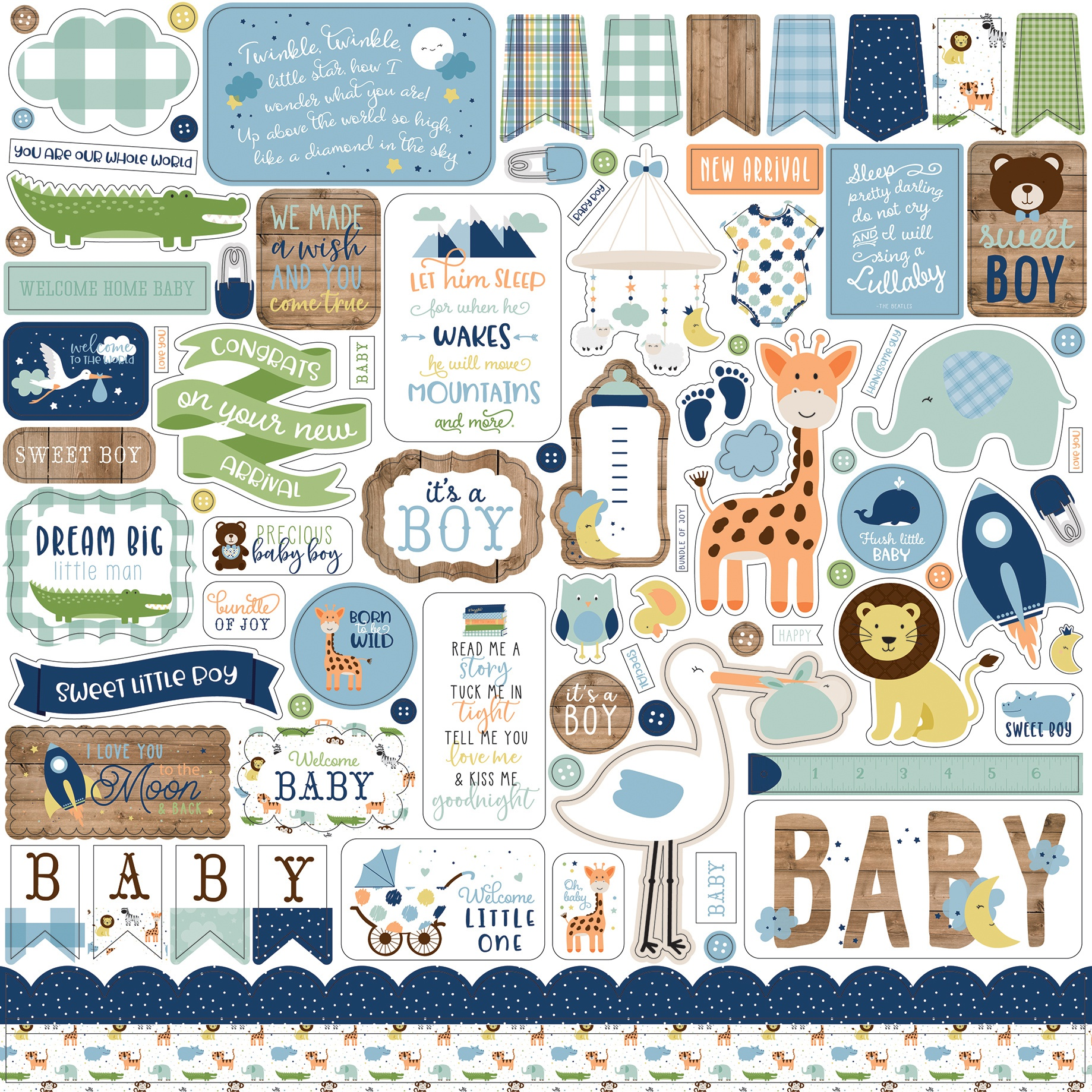 Baby Boy Cardstock Stickers 12X12-Elements