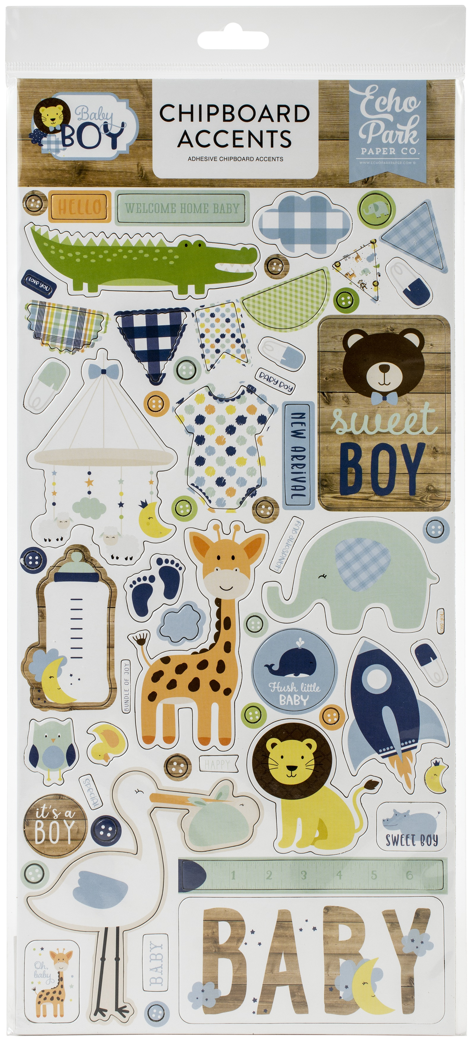 Baby Boy Chipboard 6X13-Accents