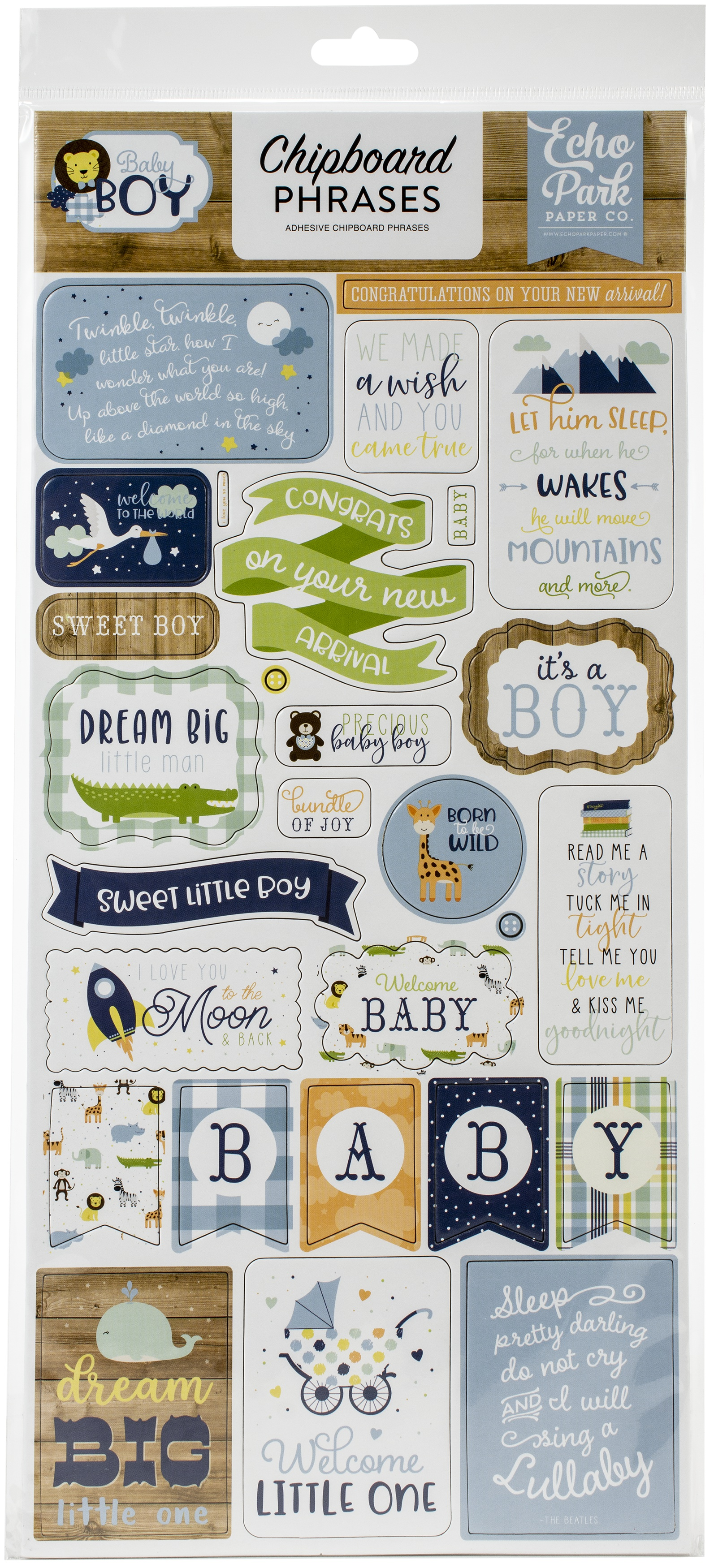 Baby Boy Chipboard 6X13-Phrases