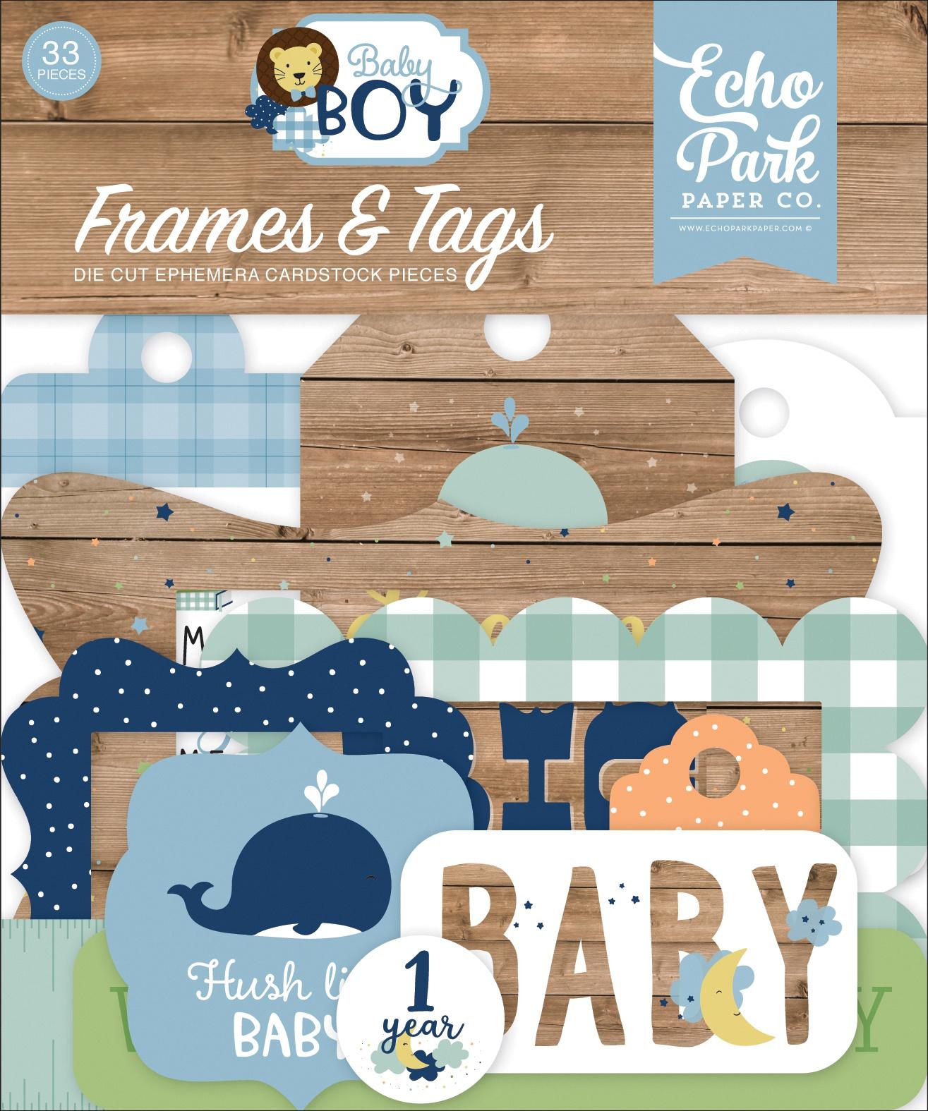Echo Park Cardstock Ephemera 33/Pkg-Frames & Tags, Baby Boy