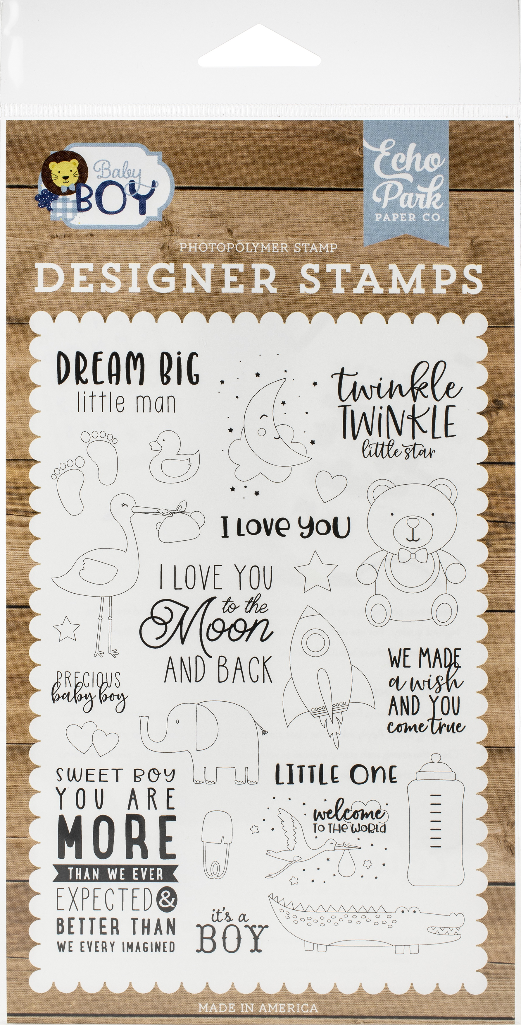 Echo Park Stamps-Dream Big Little Man, Baby Boy