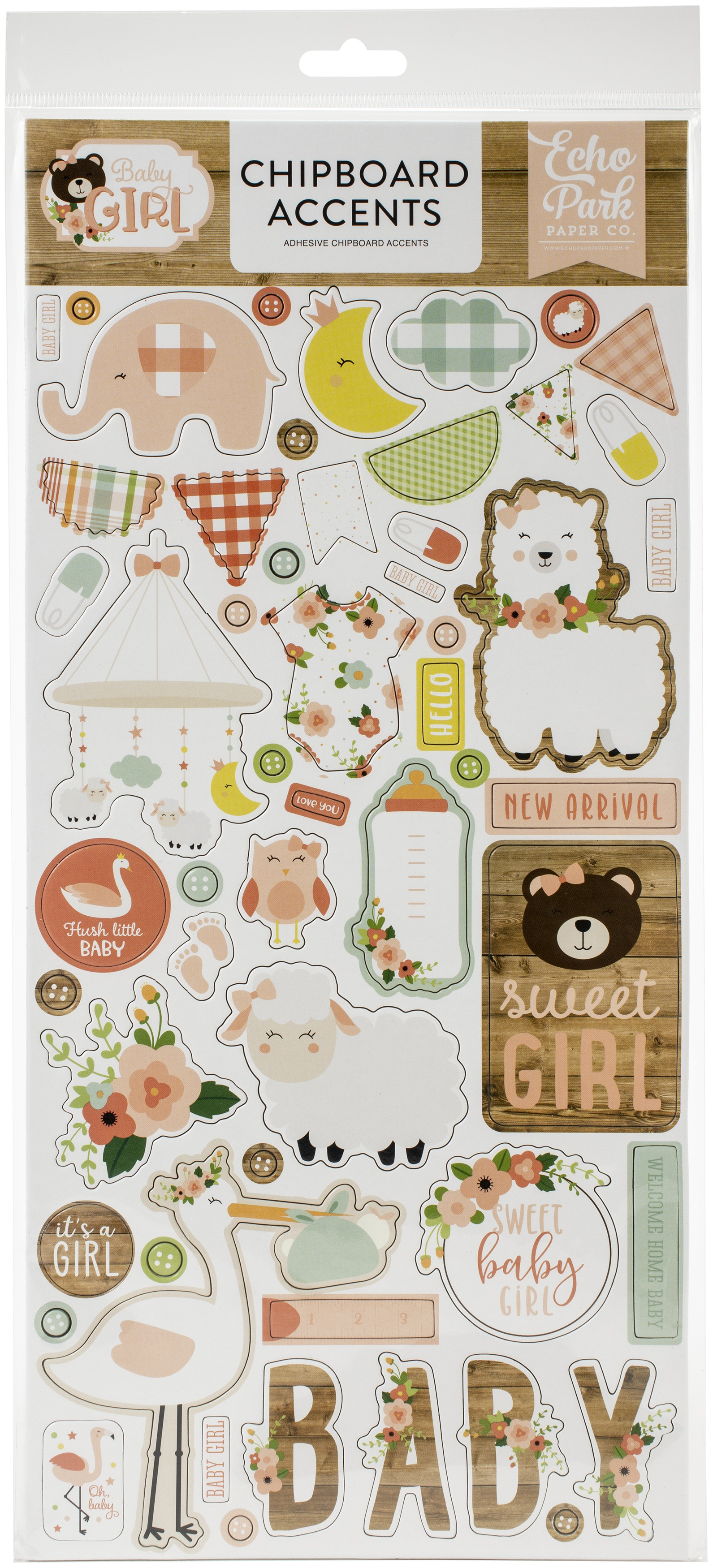 Baby Girl Chipboard 6X13-Accents