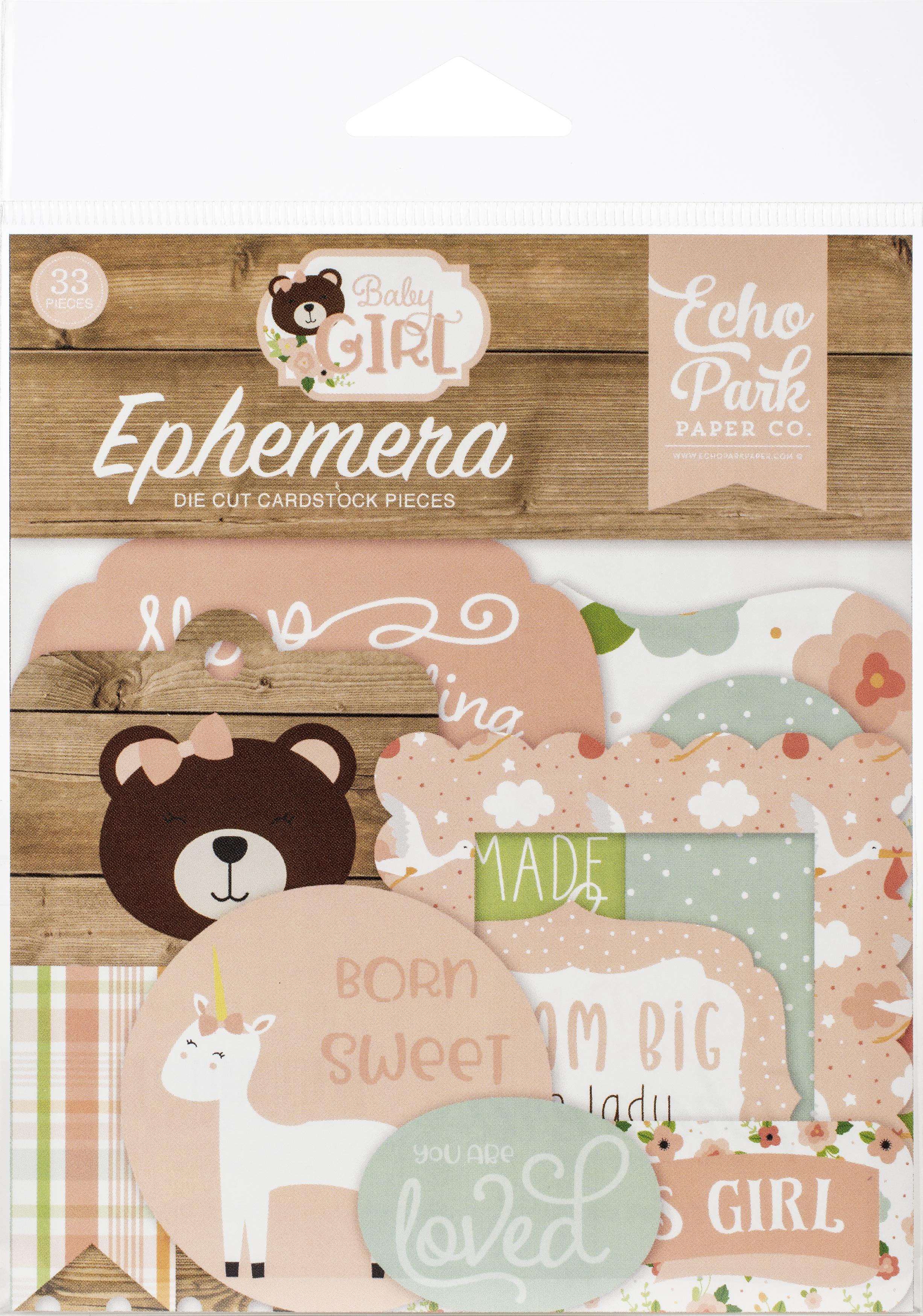 Echo Park Cardstock Ephemera 33/Pkg-Icons, Baby Girl