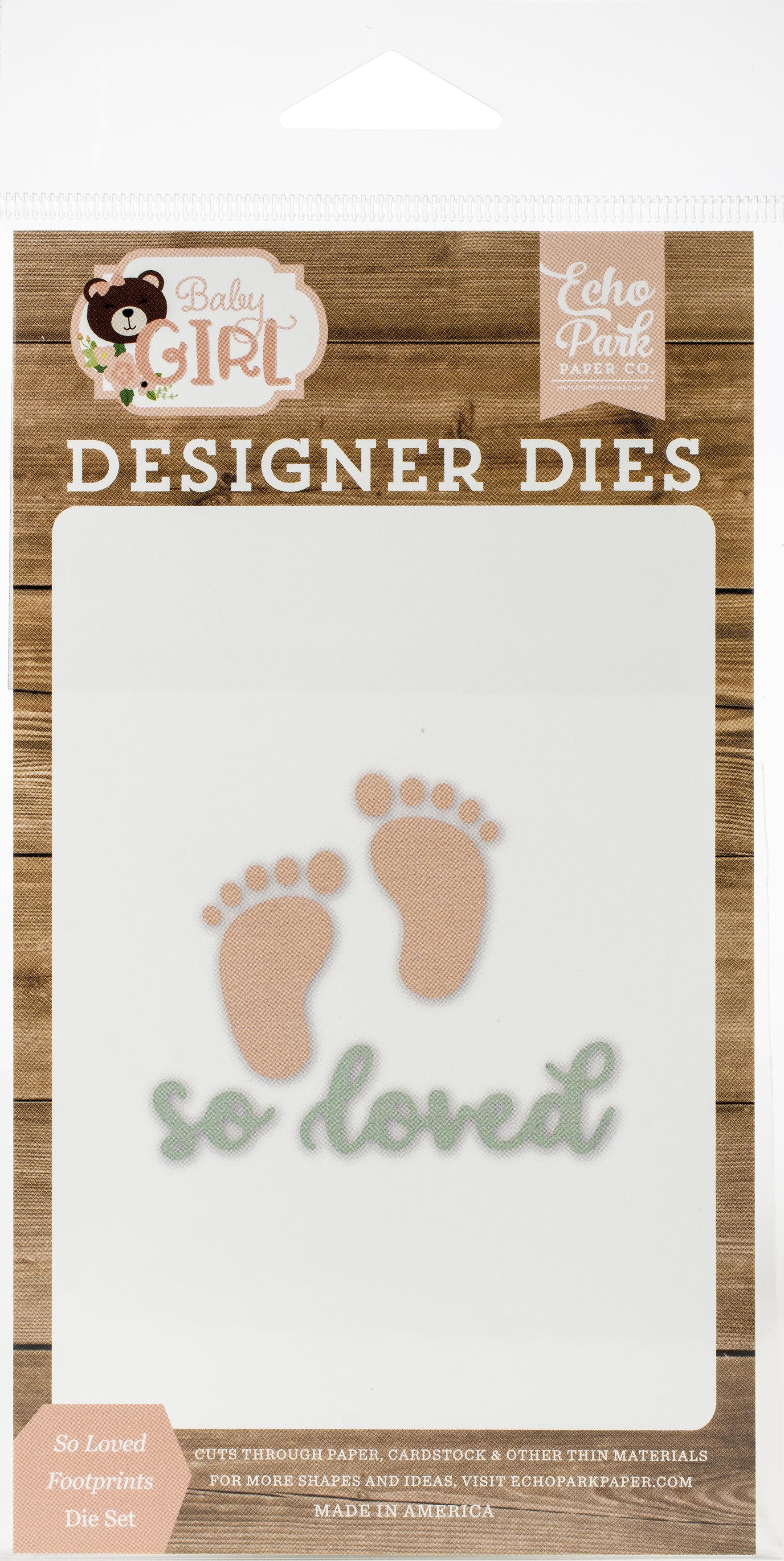 Echo Park Baby Girl Collection Designer Die - So Loved Footprints Die Set