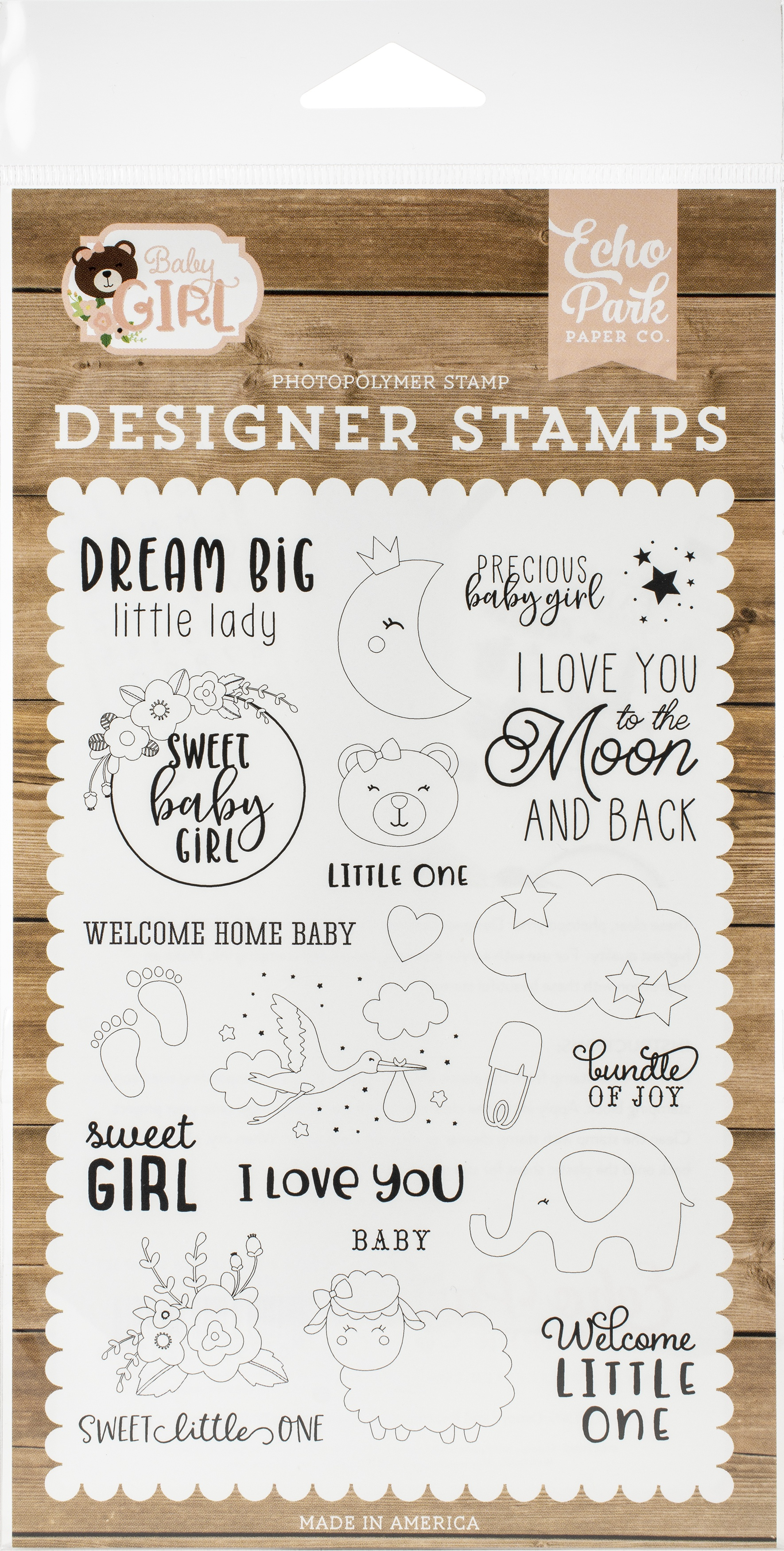 Echo Park Stamps-Dream Big Little Lady, Baby Girl