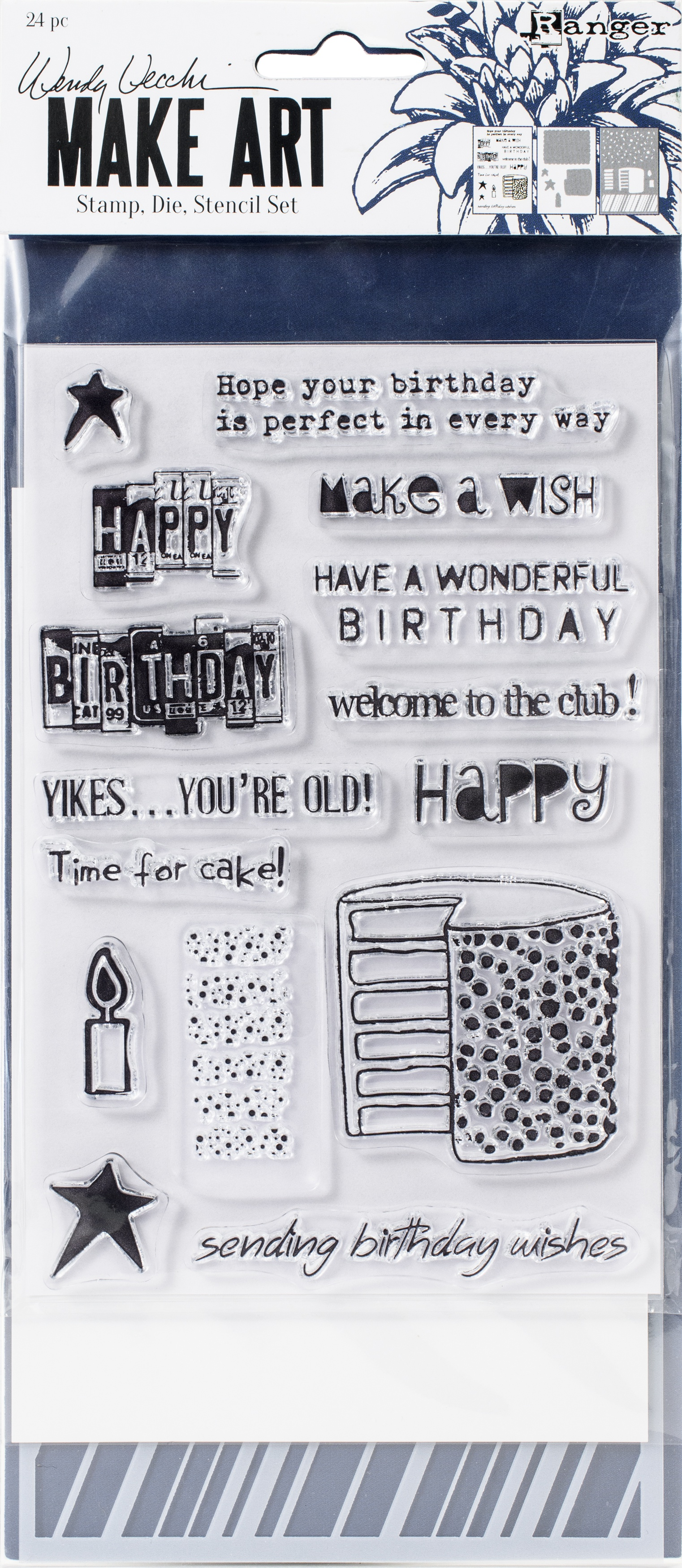 PREORDER Wendy Vecchi Make Art Stamp, Die & Stencil Set-Birthday Bash