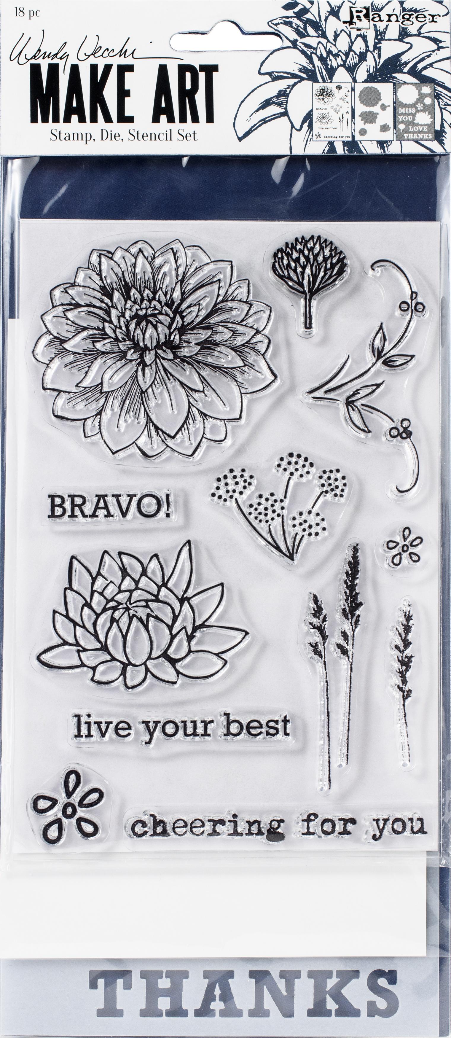 Wendy Vecchi Make Art Stamp, Die & Stencil Set-Bravo