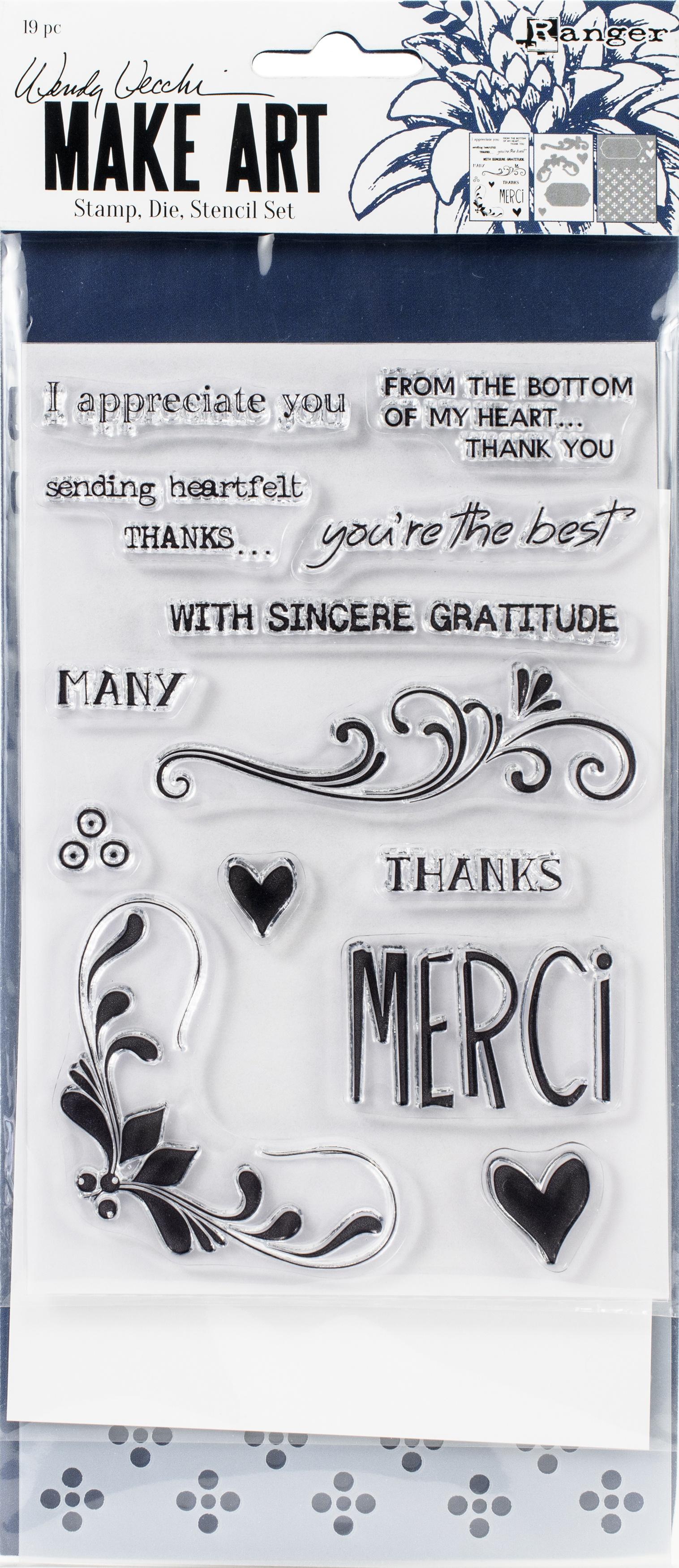 Wendy Vecchi Make Art Stamp, Die & Stencil Set-Merci & More