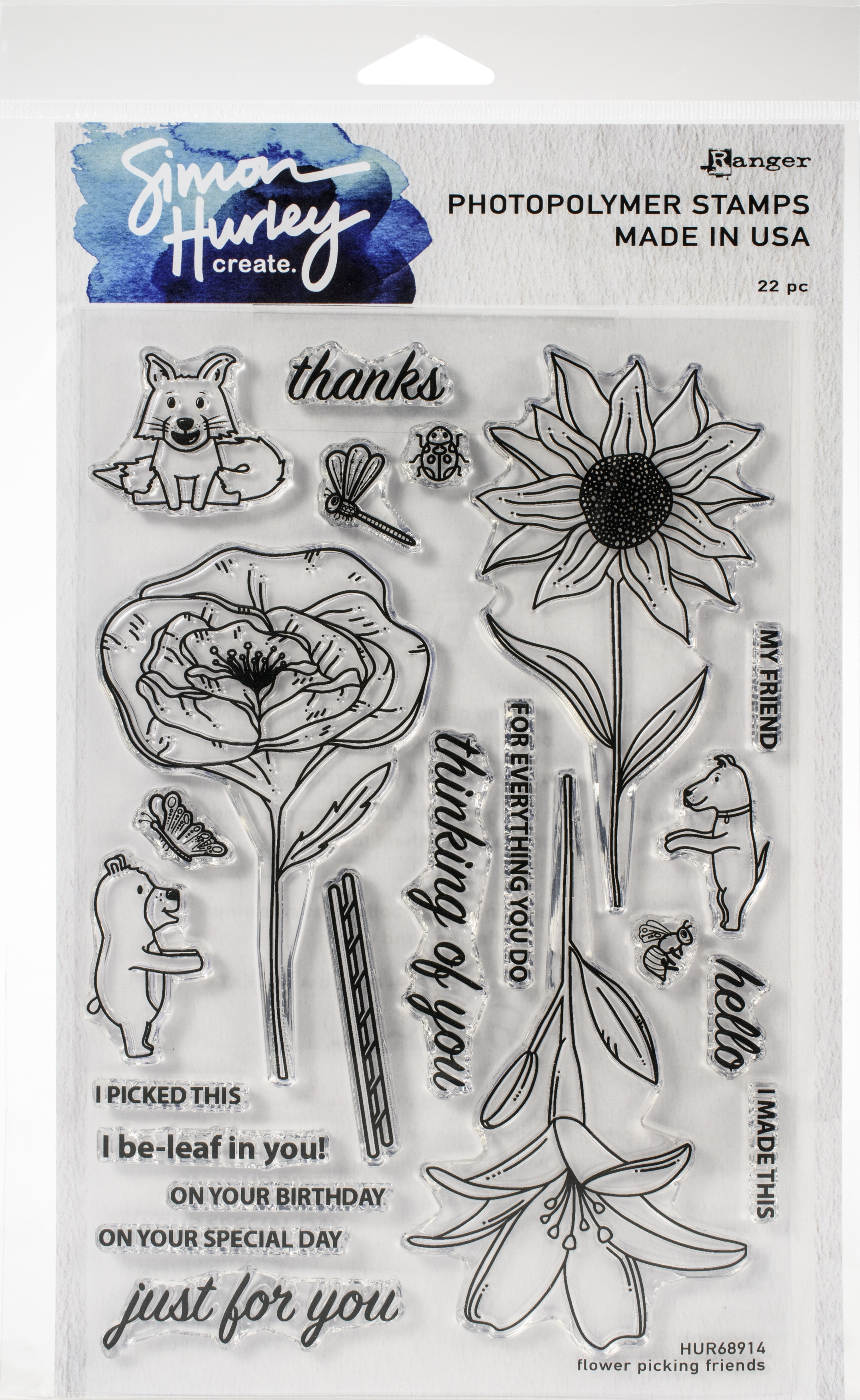 Simon Hurley create. Cling Stamps 6X9-Flower Picking Friends