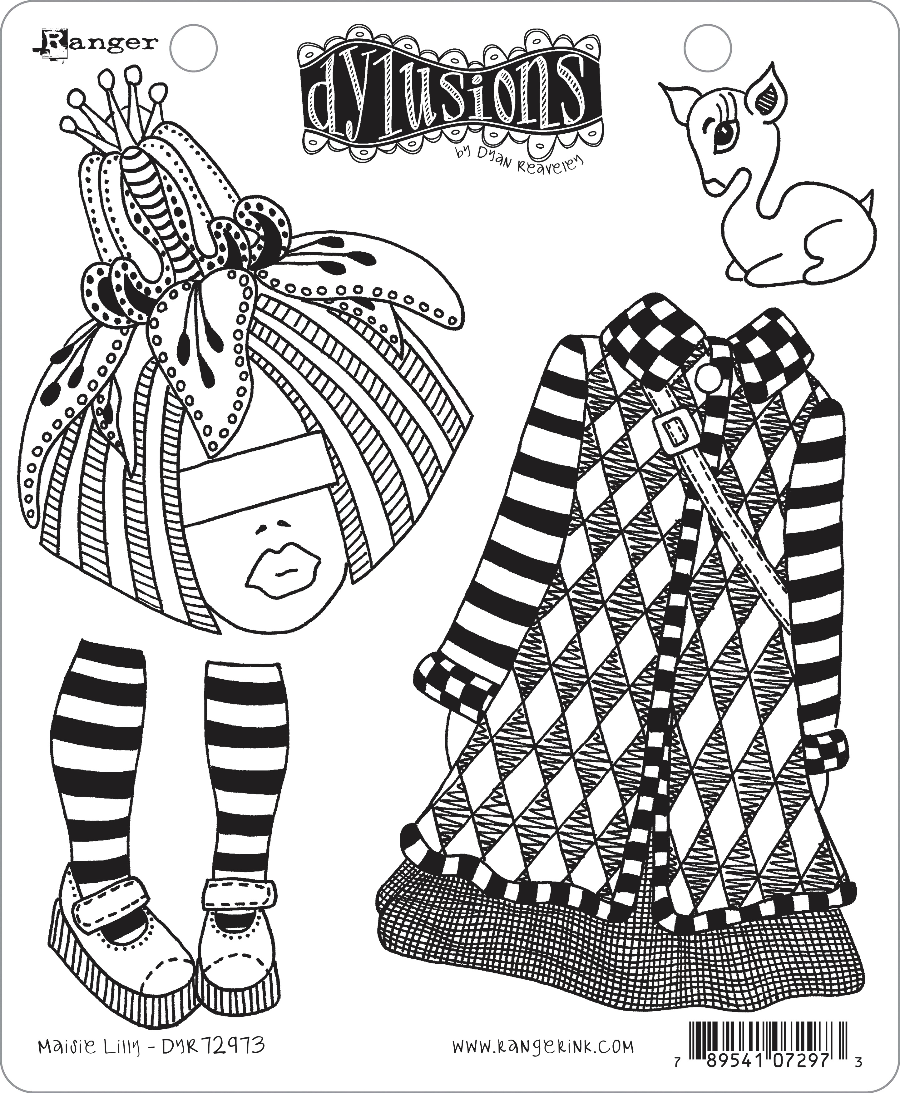 Dyan Reaveley's Dylusions Cling Stamp Collections 8.5X7-Maisie Lilly