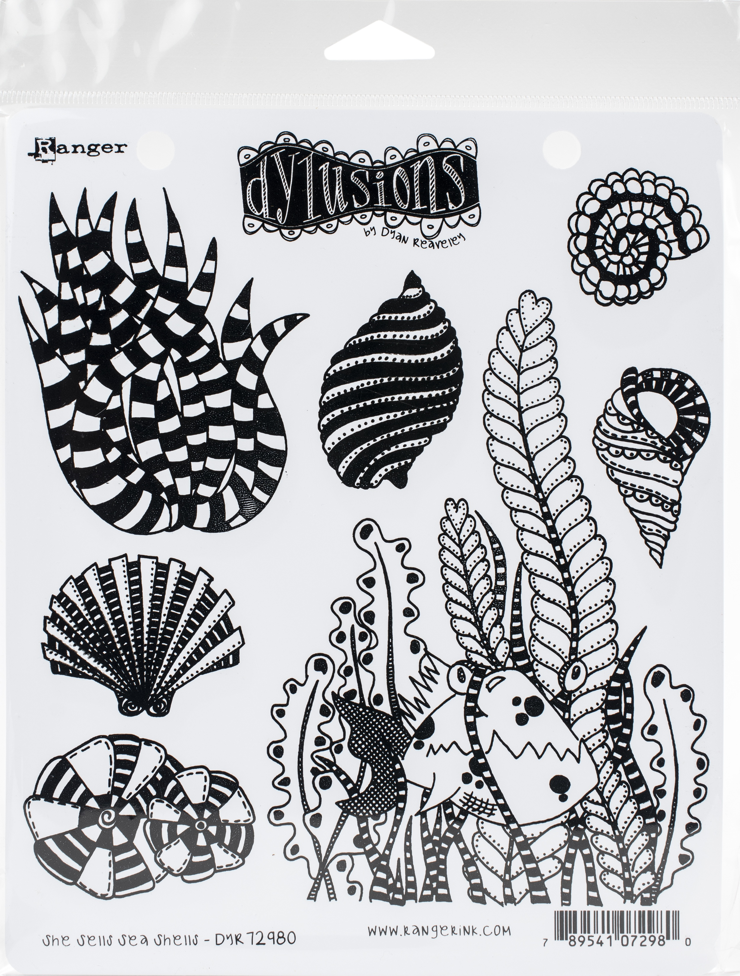 Dyan Reaveley's Dylusions Cling Stamp Collections 8.5X7-She Sells Sea Shells