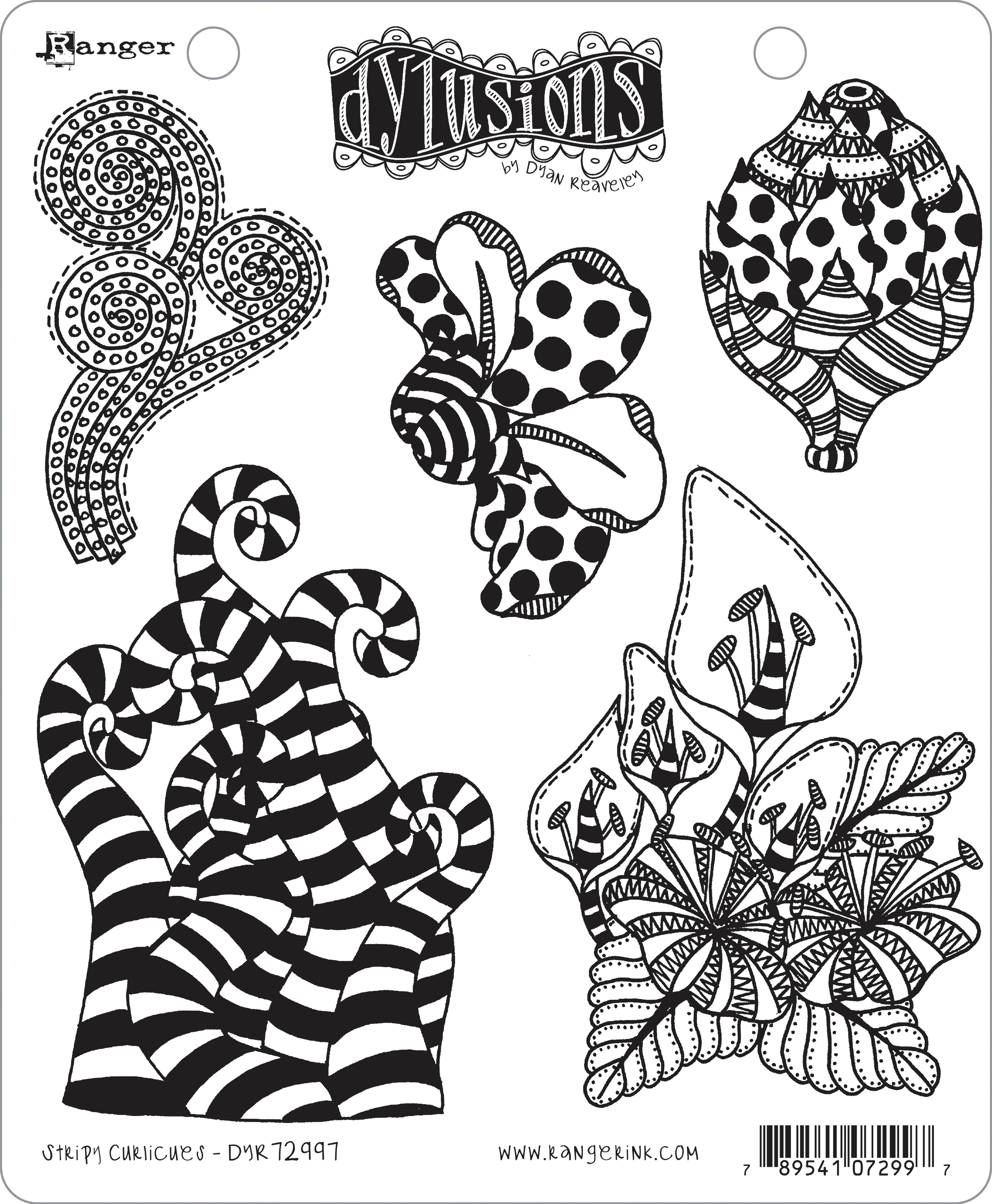 Dyan Reaveley's Dylusions Cling Stamp Collections 8.5X7-Stripy Curlicues