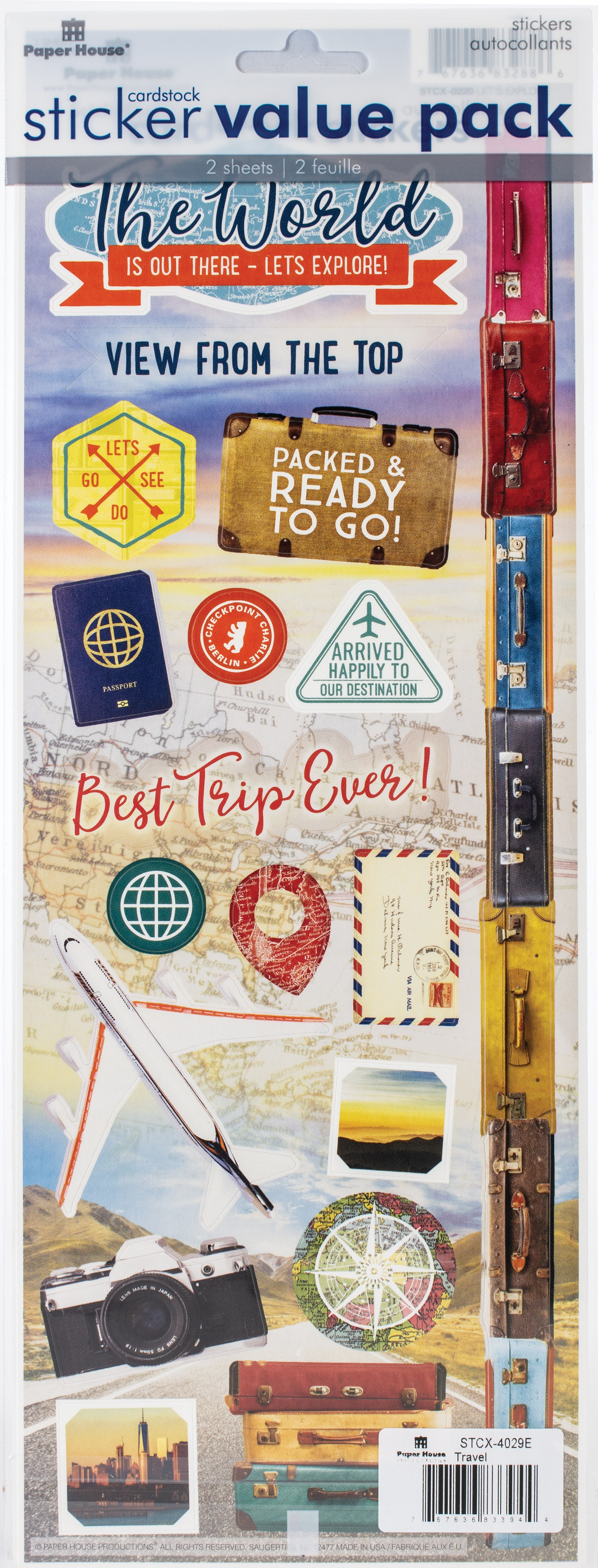 Cardstock Sticker 2/Pkg-World Travel & Big Adventure