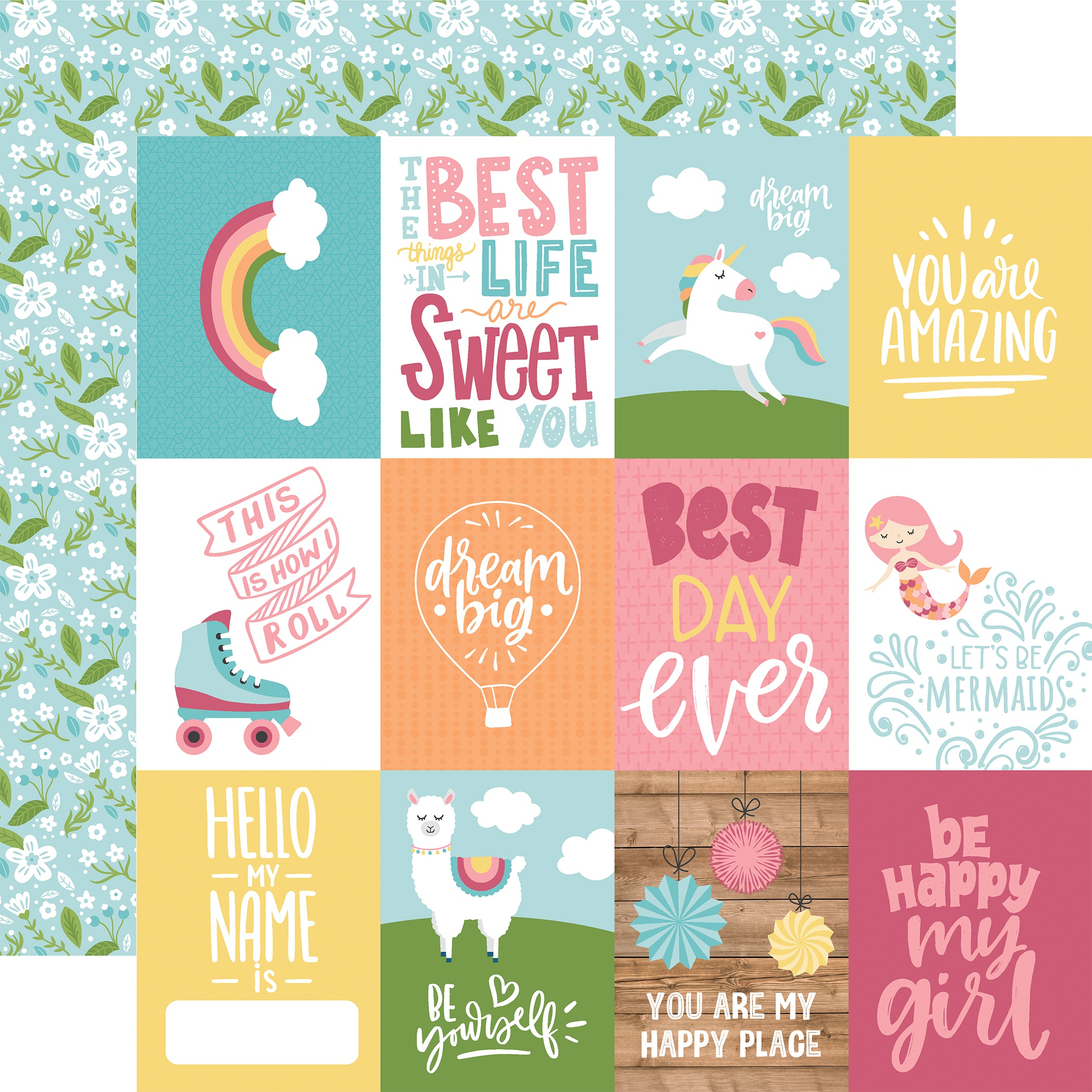 All Girl Double-Sided Cardstock 12X12-3X4 Journaling Cards