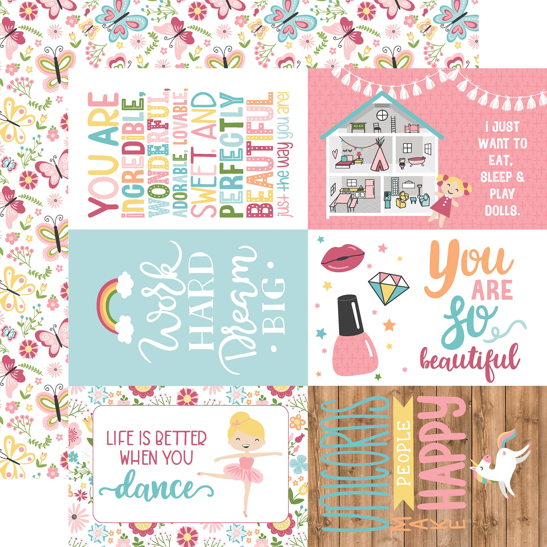 All Girl Double-Sided Cardstock 12X12-4X6 Journaling Cards