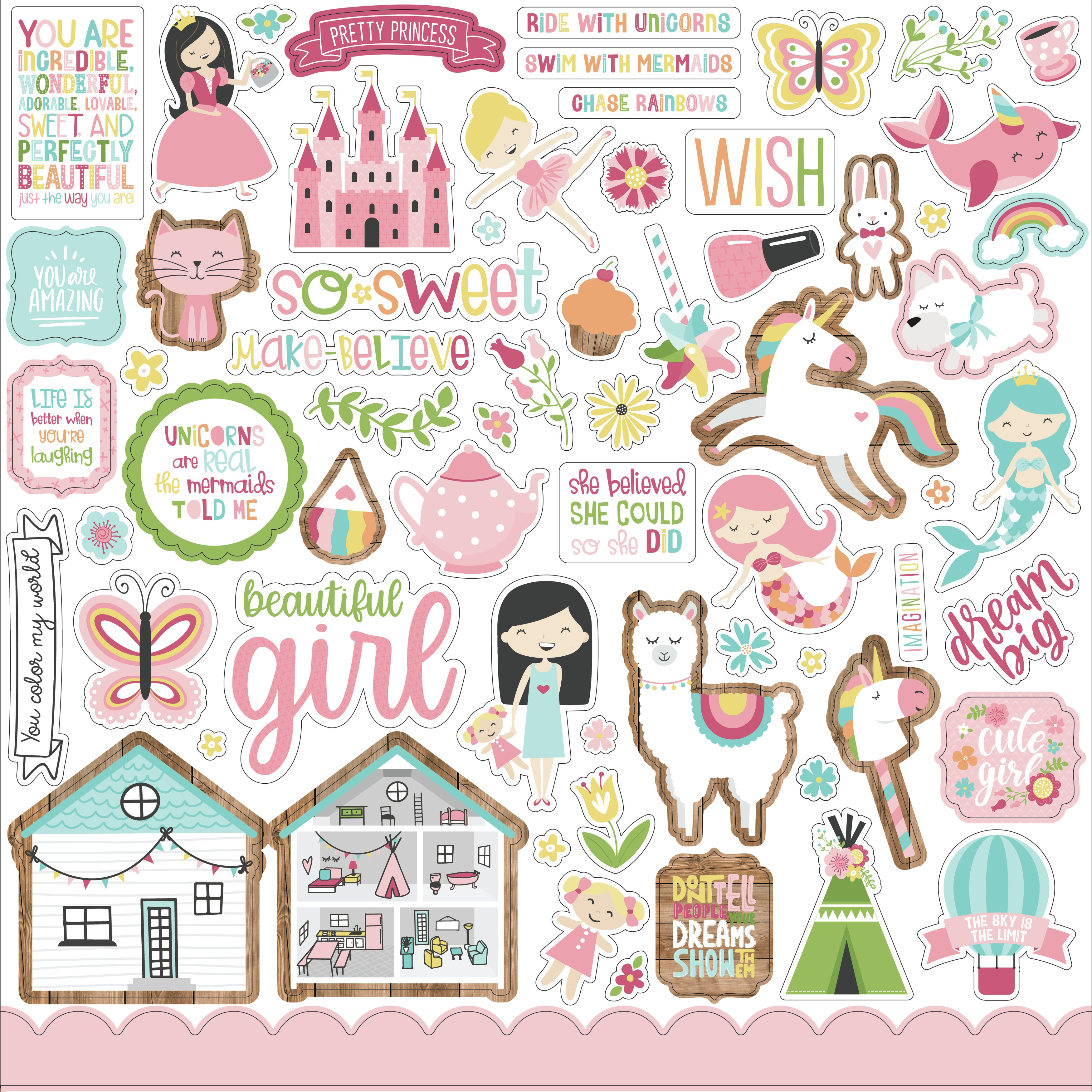 All Girl Cardstock Stickers 12X12-Elements