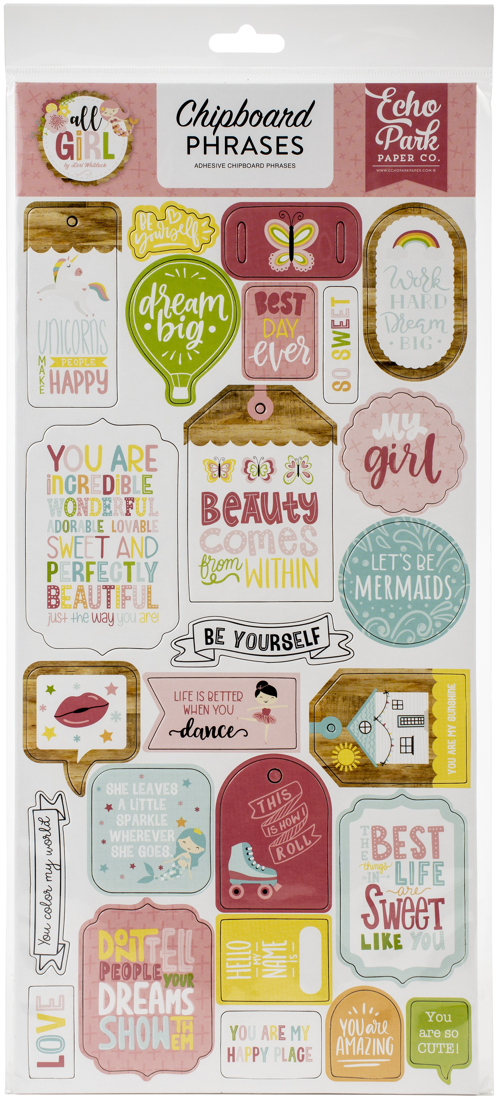 All Girl Chipboard 6X13-Phrases