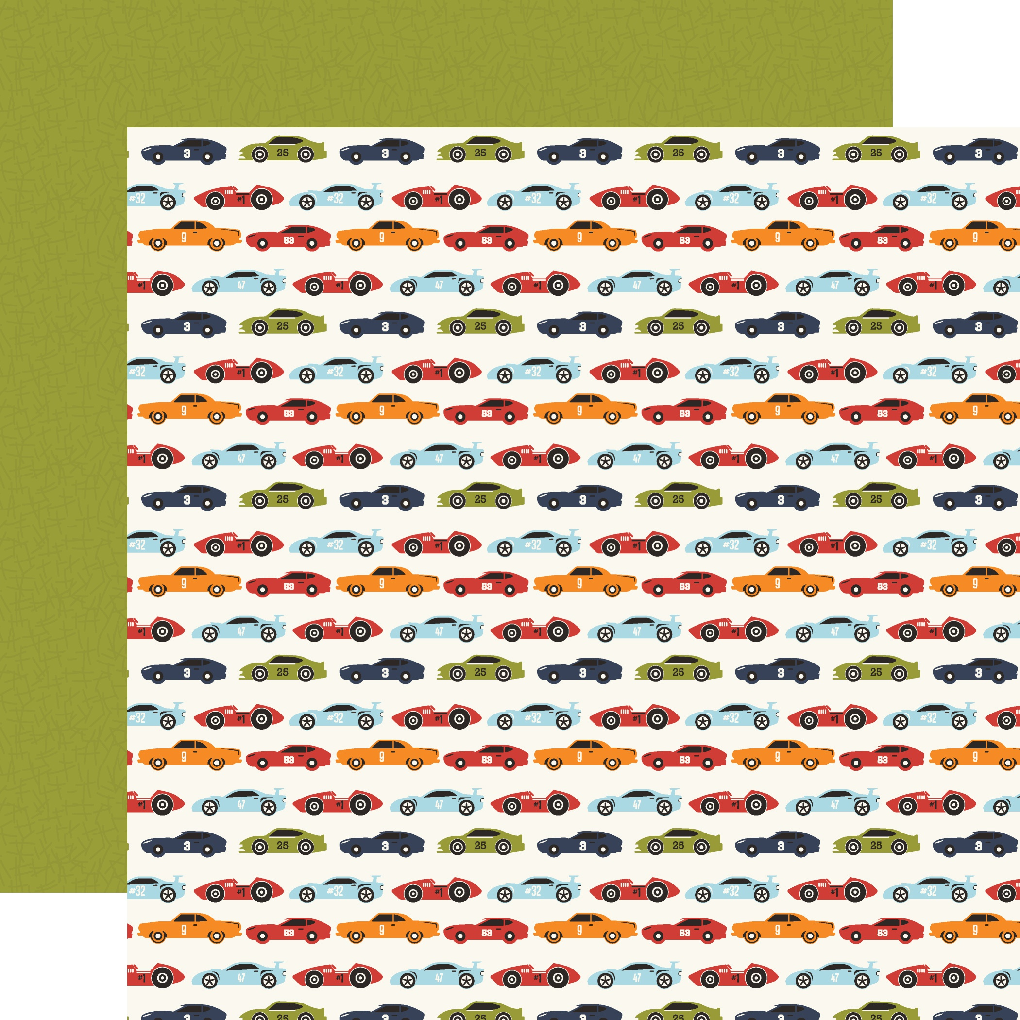 All Boy Double-Sided Cardstock 12X12-Race Car Lanes