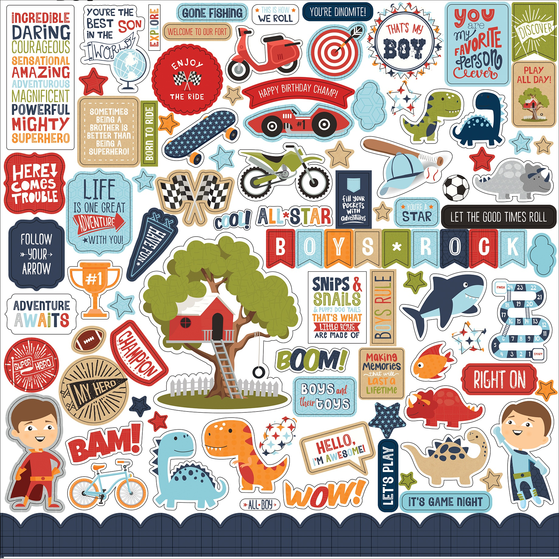 All Boy Cardstock Stickers 12X12-Elements