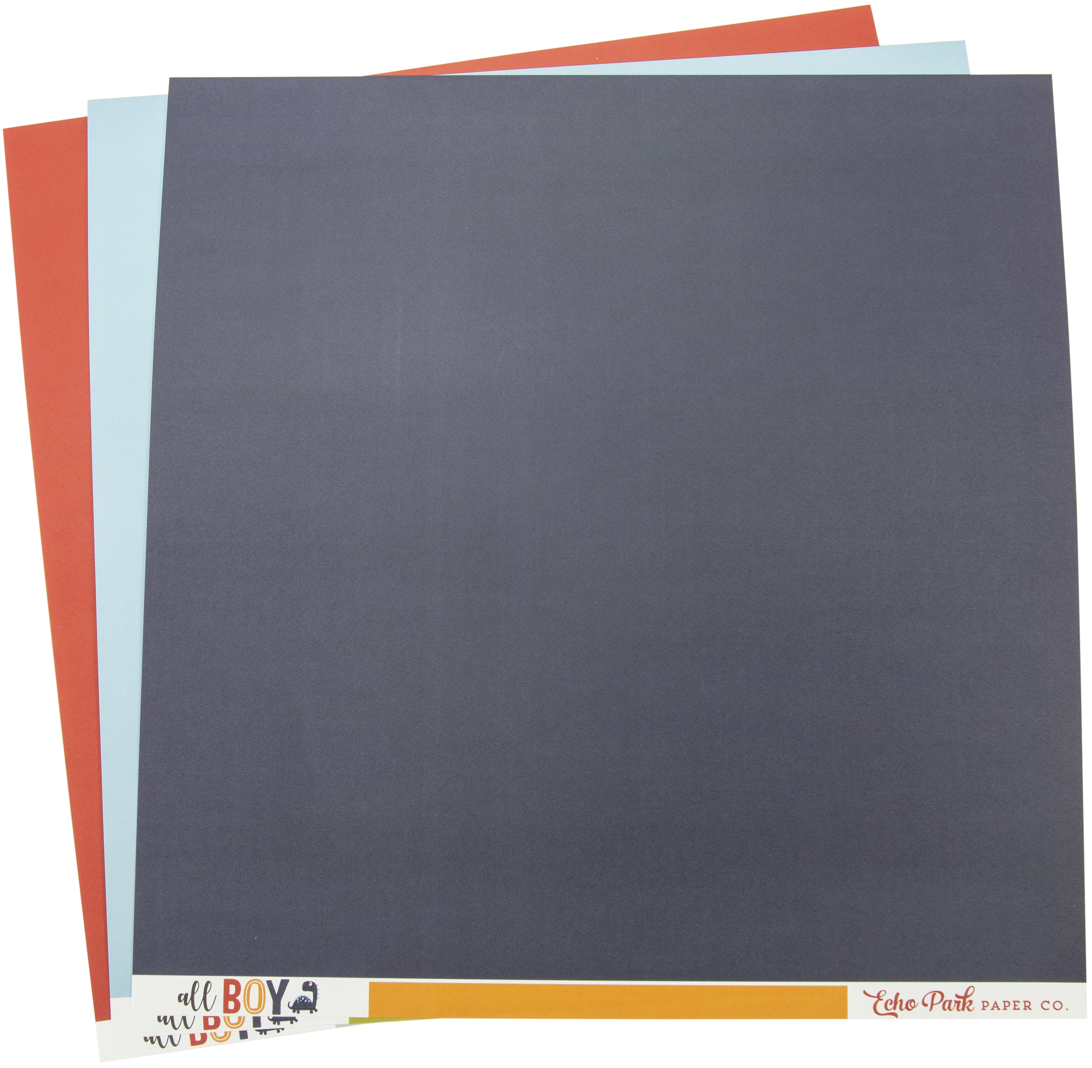Echo Park Double-Sided Solid Cardstock 12X12 6/Pkg-All Boy, 6 Colors