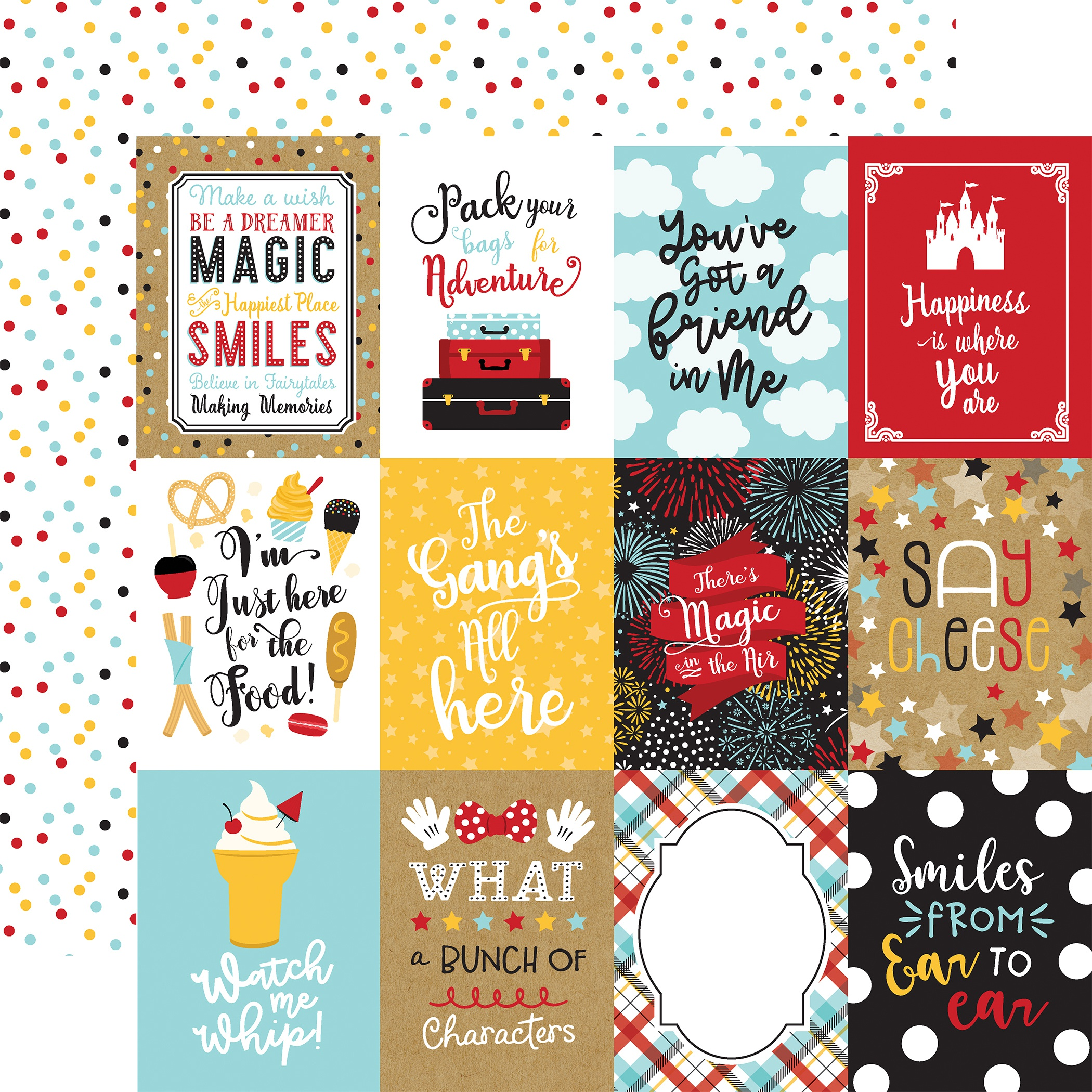 Remember The Magic Double-Sided Cardstock 12X12-3X4 Journaling Cards