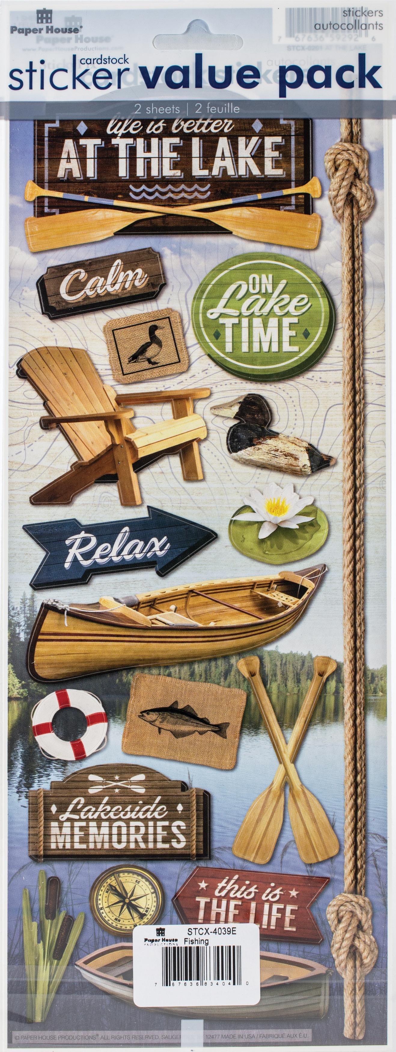 Cardstock Sticker 2/Pkg-Fishing/Lake
