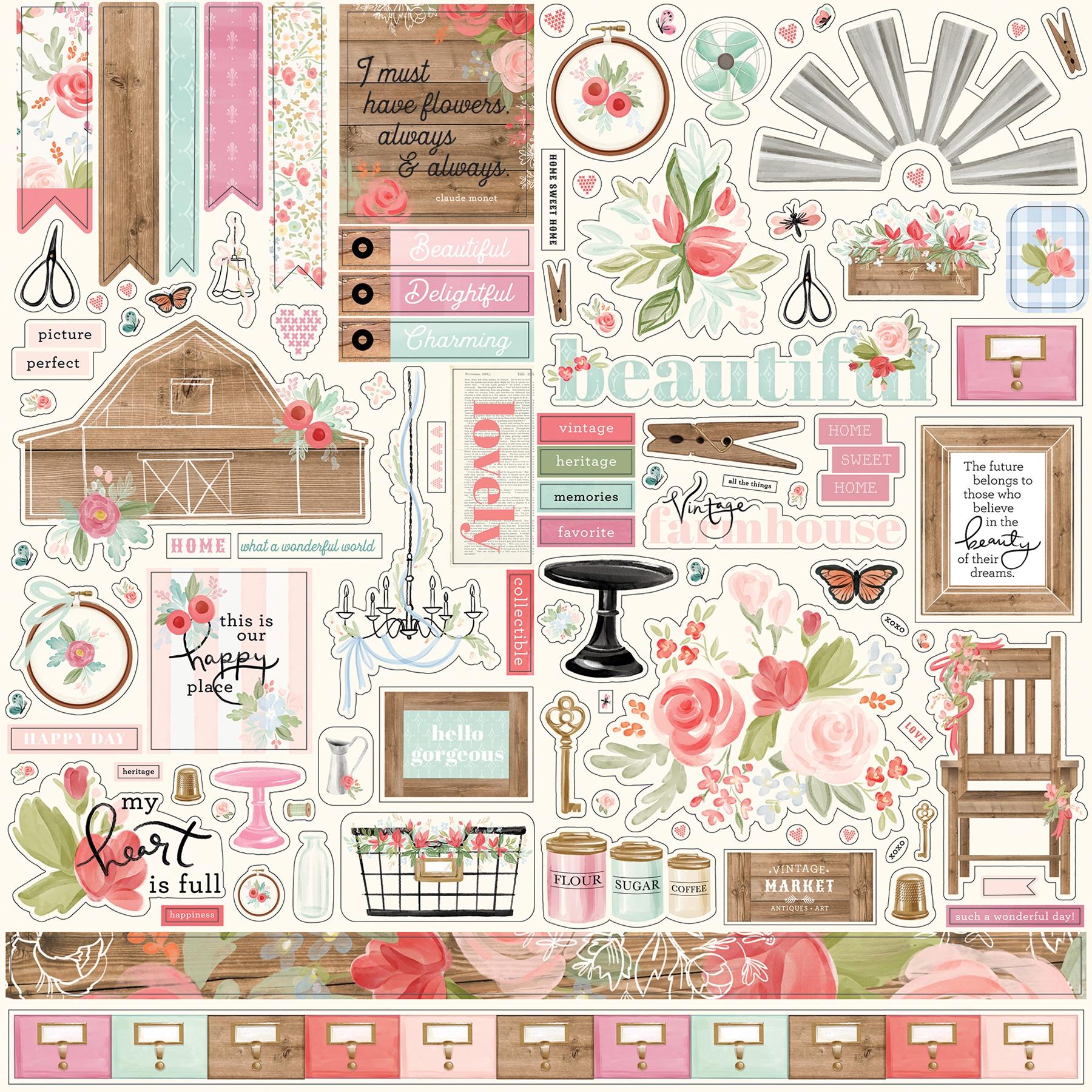 Farmhouse Market Cardstock Stickers 12X12-Elements