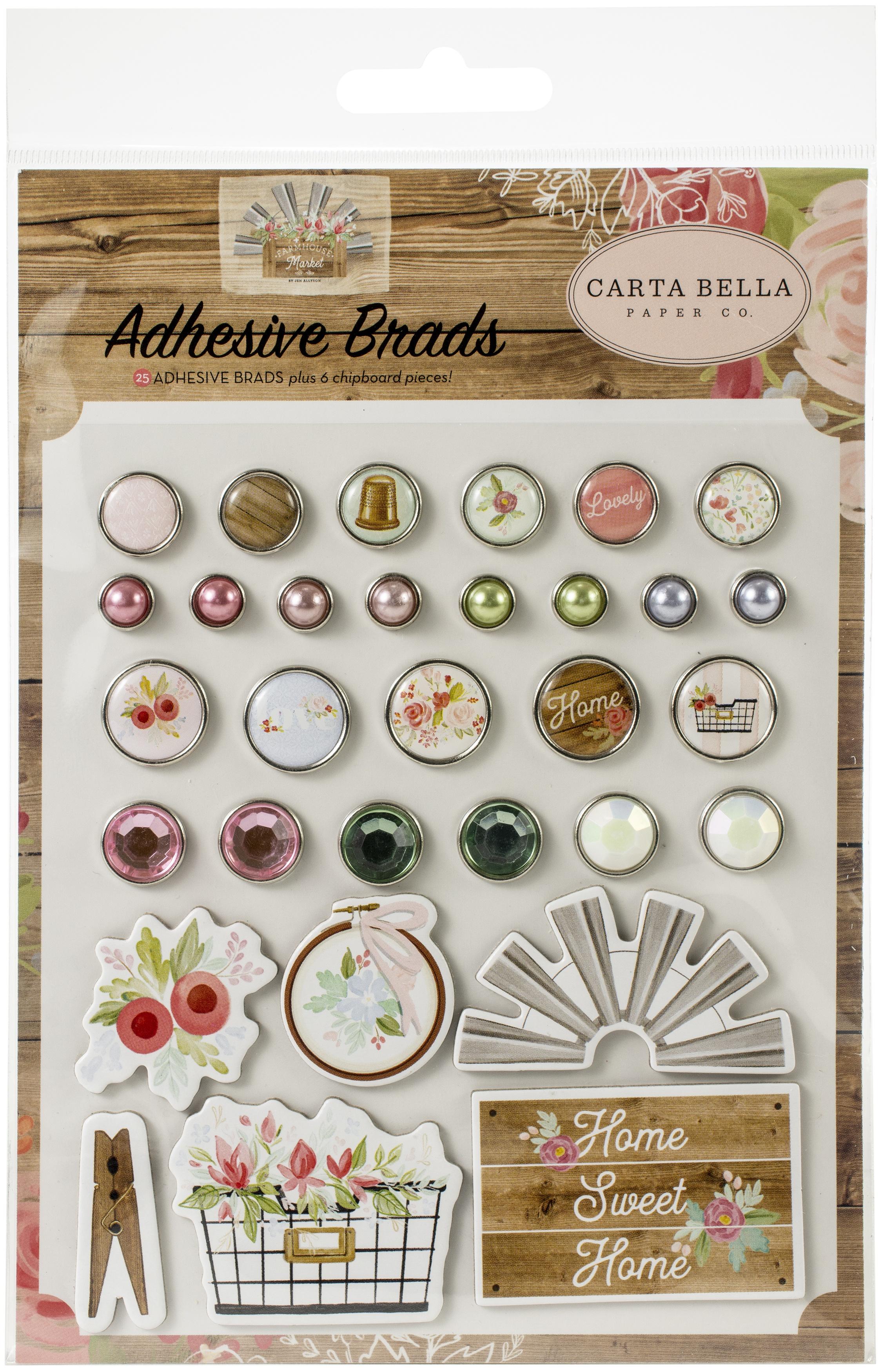 Carta Bella Decorative Brads -Farmhouse Market