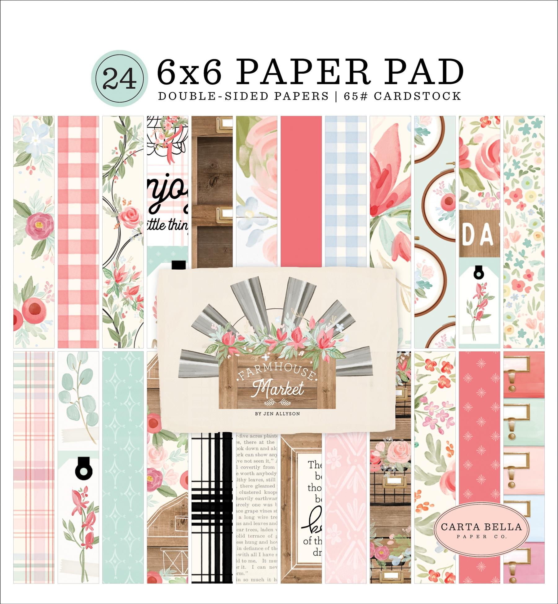 Carta Bella Double-Sided Paper Pad 6X6 24/Pkg-Farmhouse Market, 12 Designs/2 E...