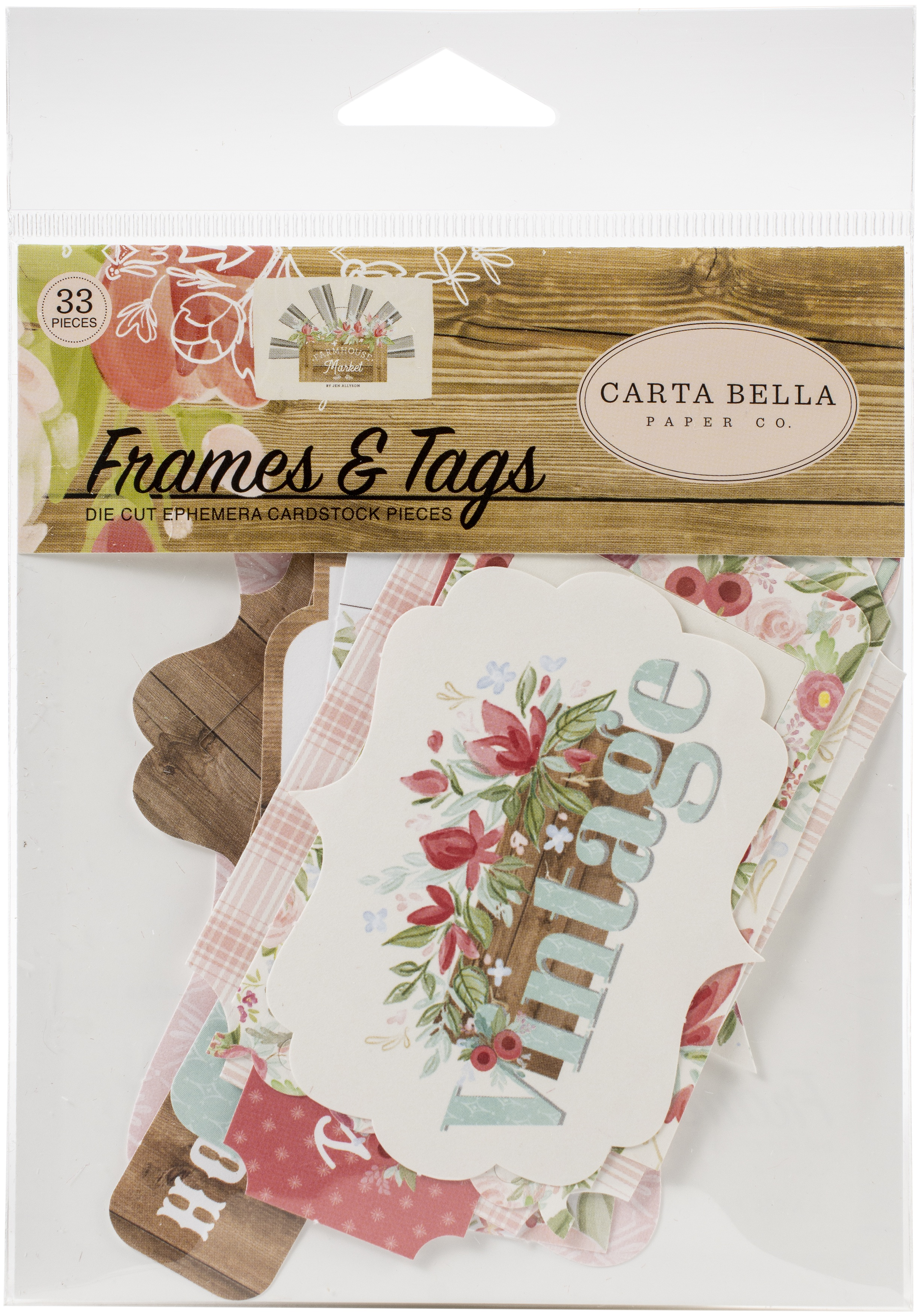 Carta Bella Cardstock Ephemera 33/Pkg-Frames & Tags, Farmhouse Market