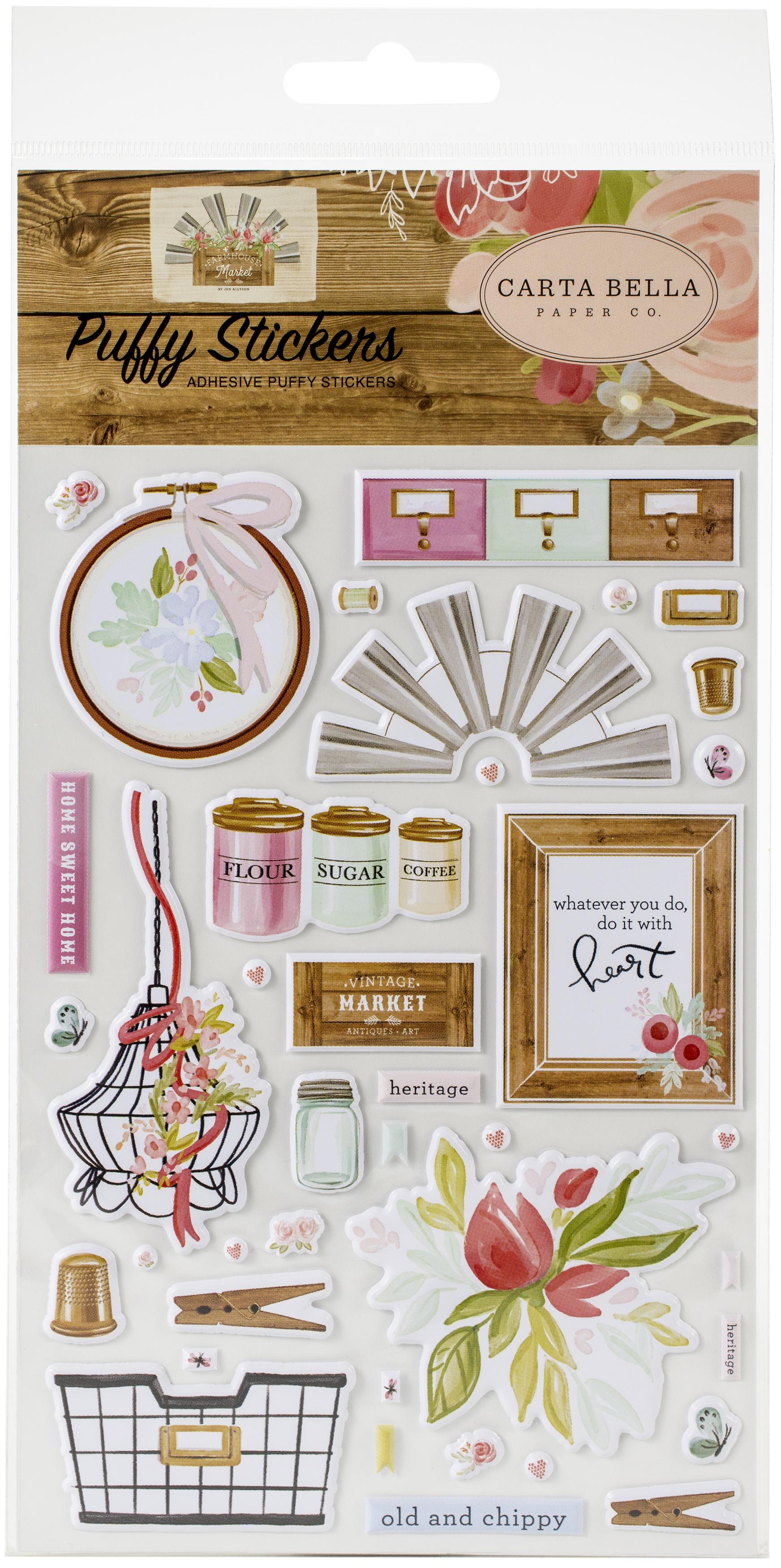 Farmhouse Market Puffy Stickers-