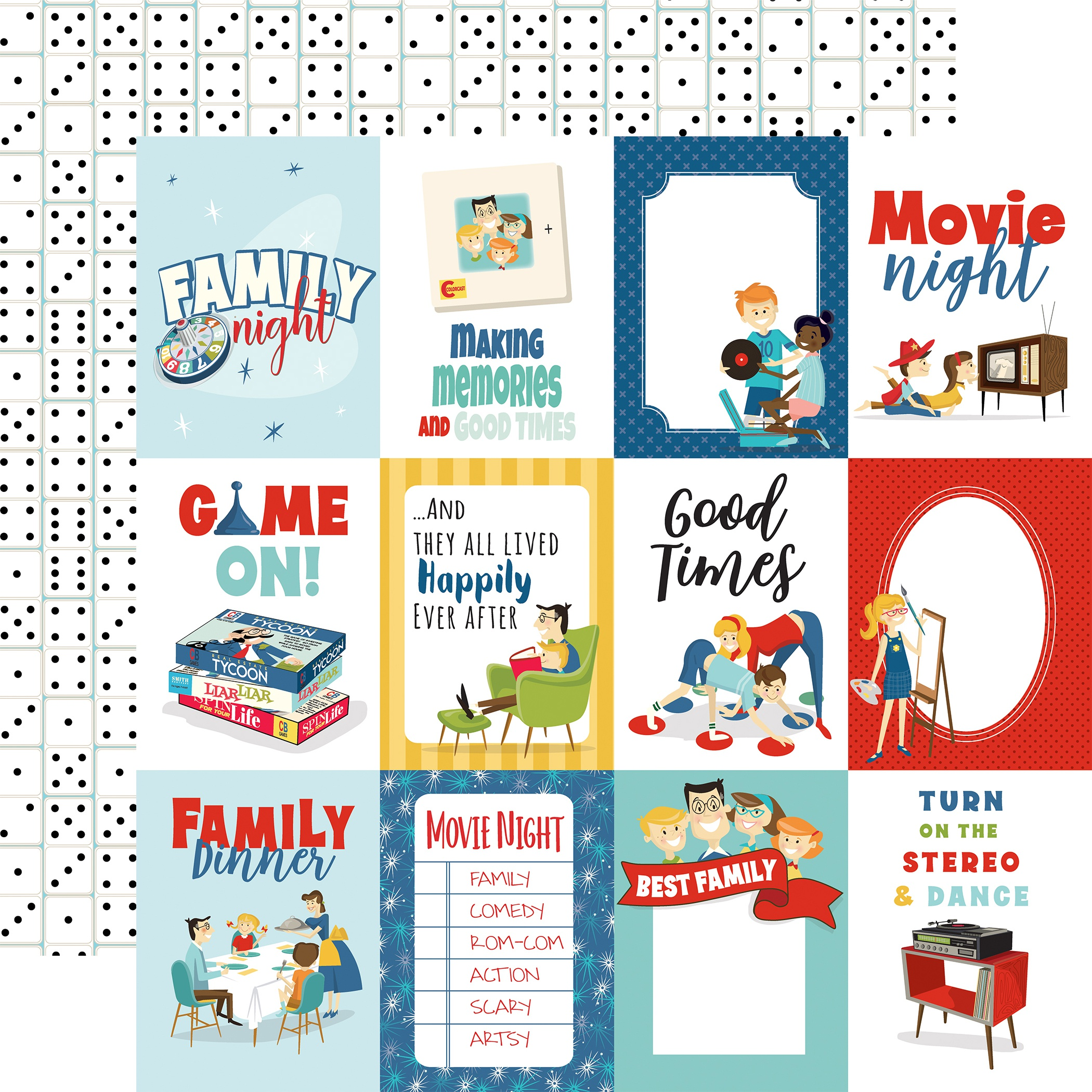 Family Night Double-Sided Cardstock 12X12-3X4 Journaling Cards