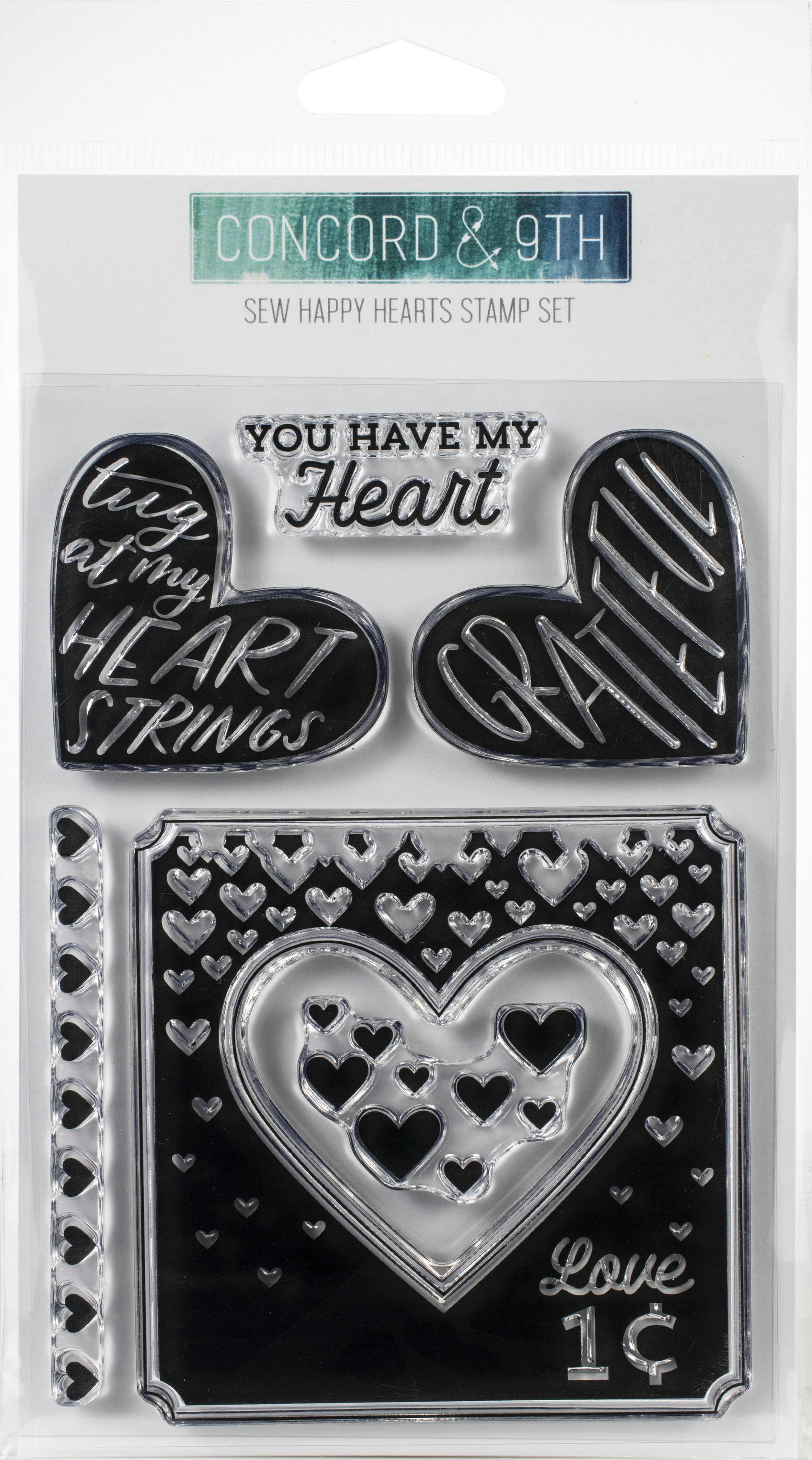 Concord & 9th Clear Stamps 4X6-Sew Happy Hearts
