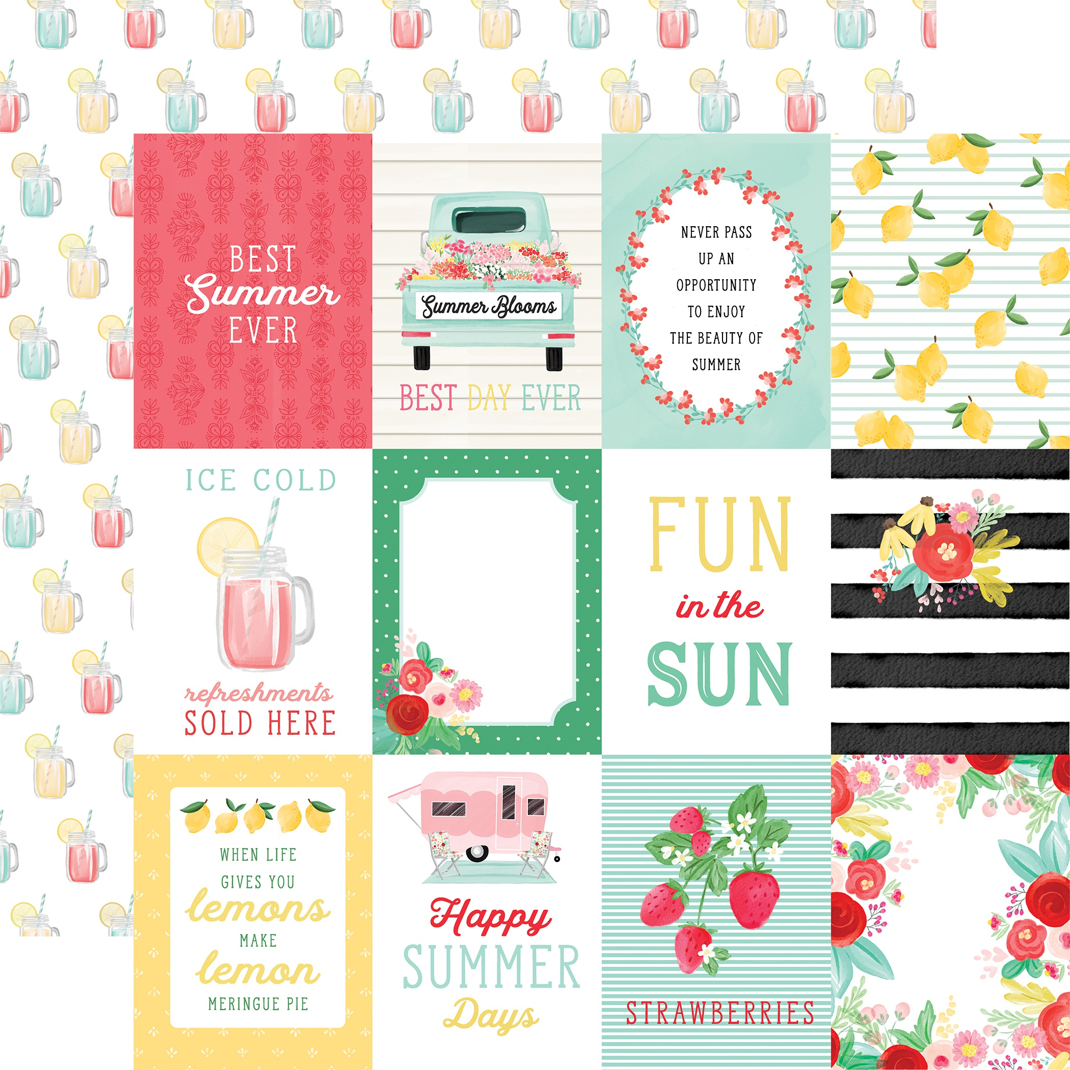 Summer Market Double-Sided Cardstock 12X12-3X4 Journaling Cards
