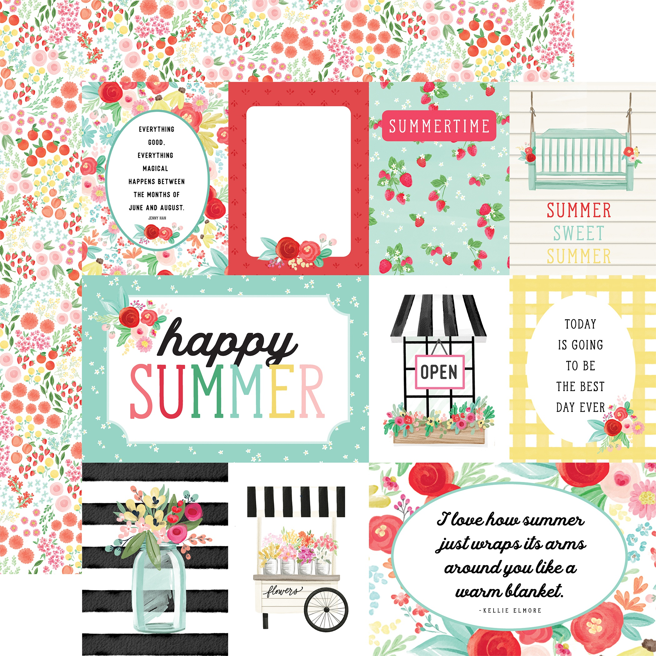 Summer Market Double-Sided Cardstock 12X12-Journaling Cards