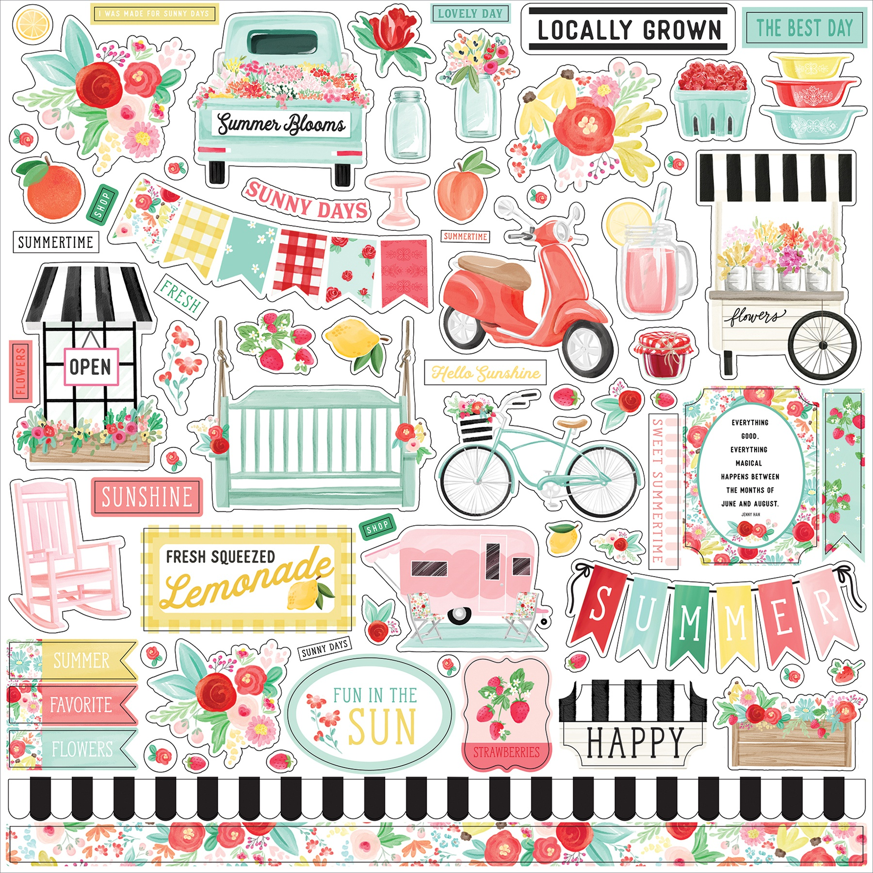 Summer Market Cardstock Stickers 12X12-Elements