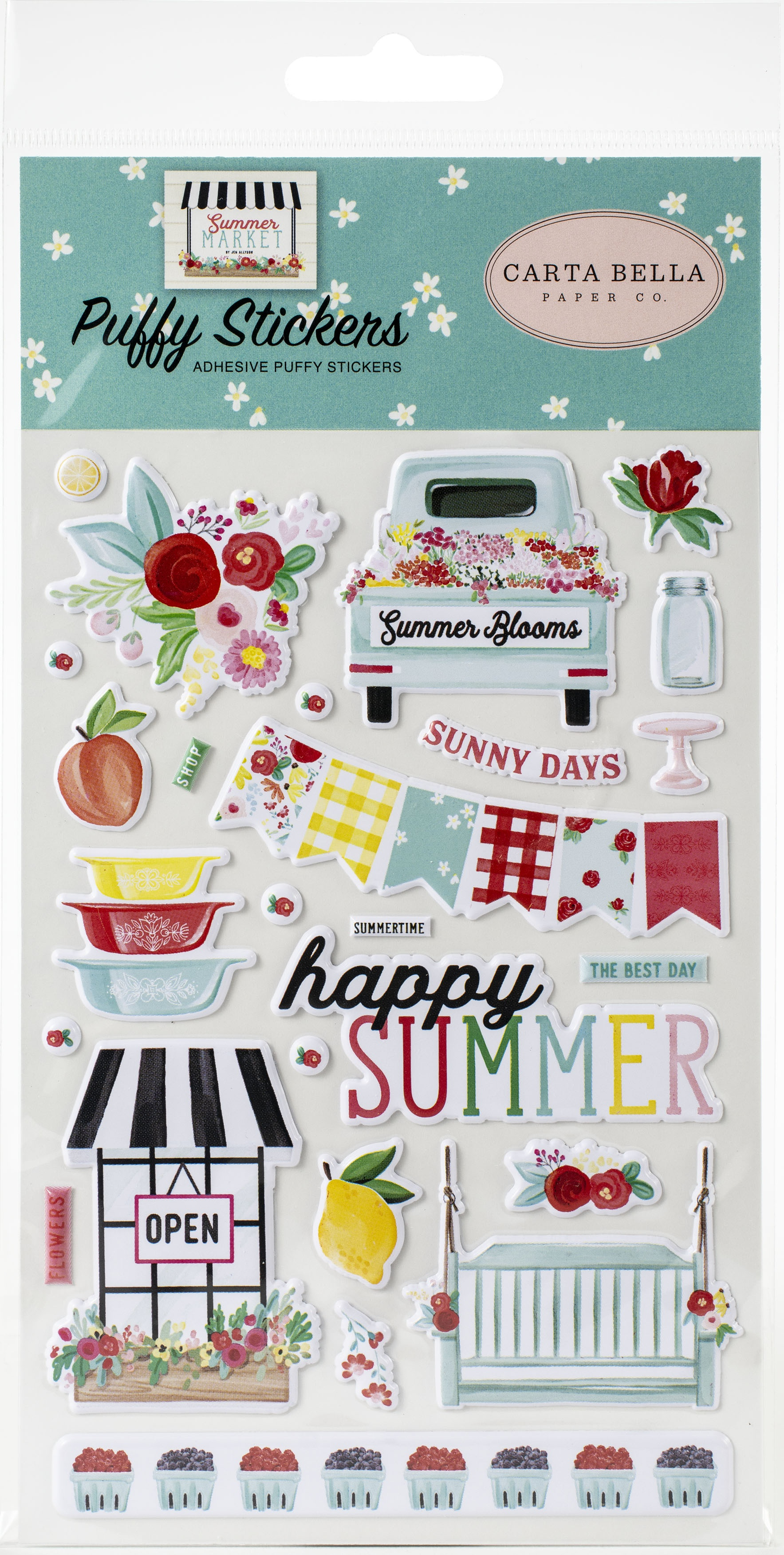 Summer Market Puffy Stickers-
