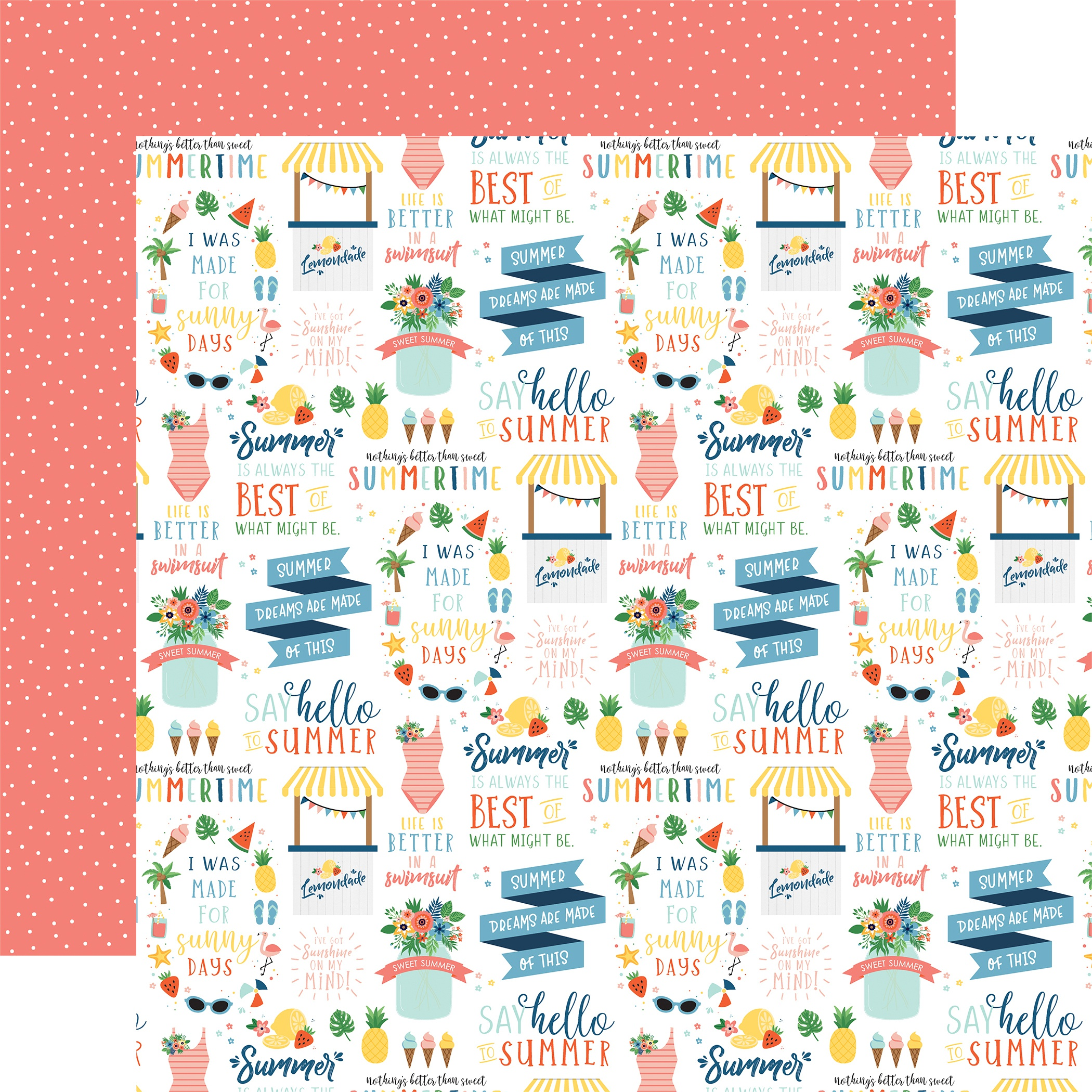 Summertime Double-Sided Cardstock 12X12-Hello Summer