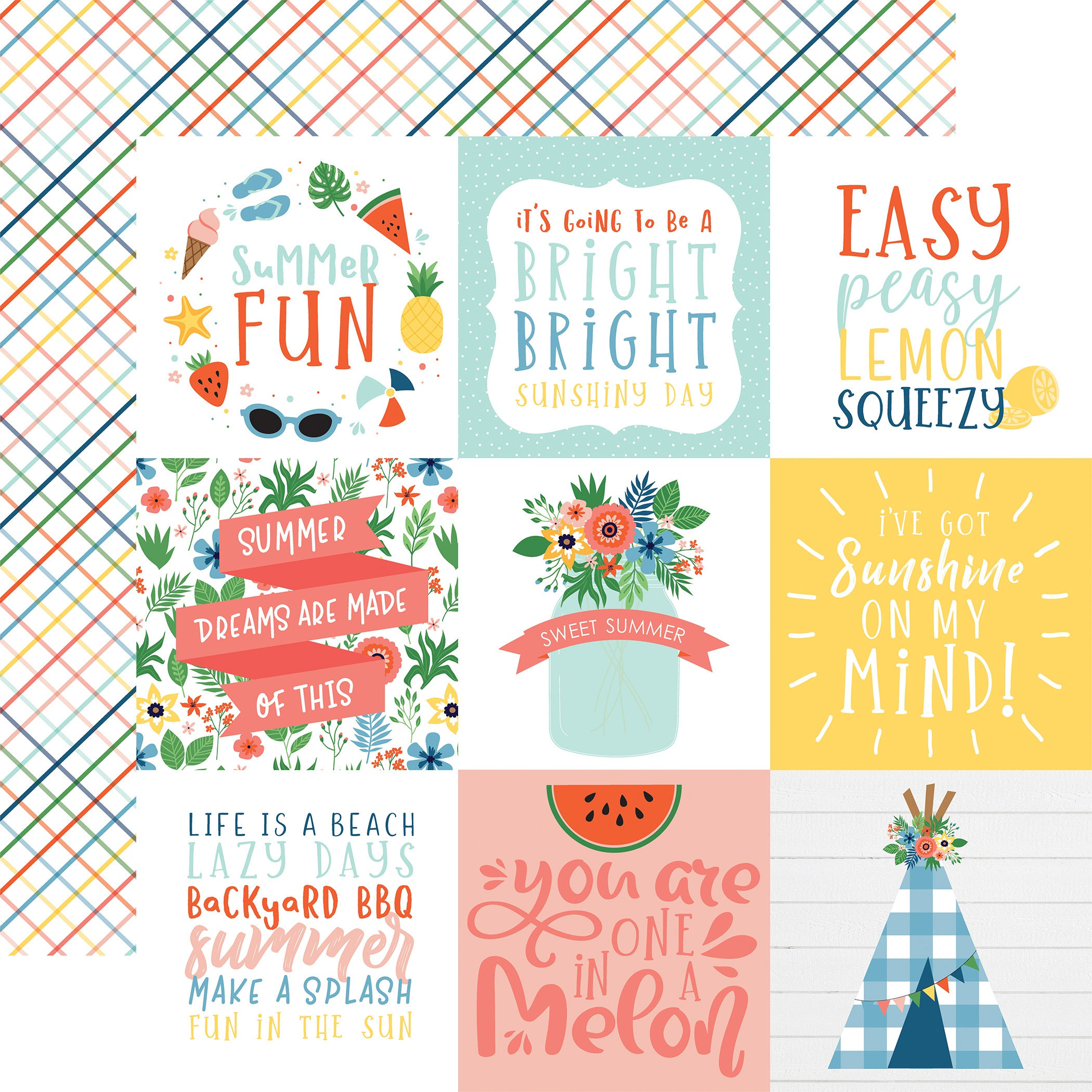 Summertime Double-Sided Cardstock 12X12-4X4 Journaling Cards