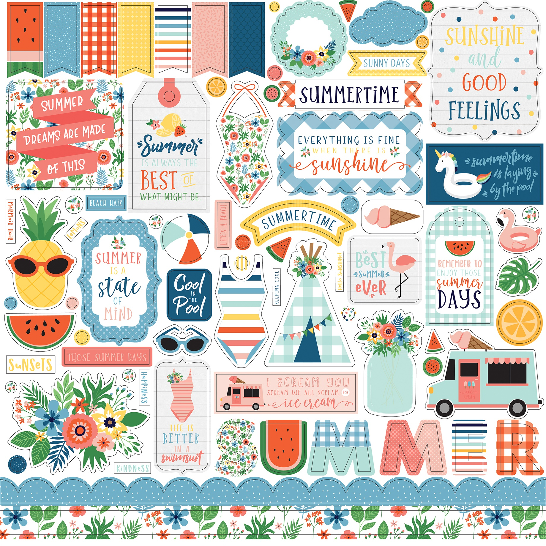 Summertime Cardstock Stickers 12X12-Elements