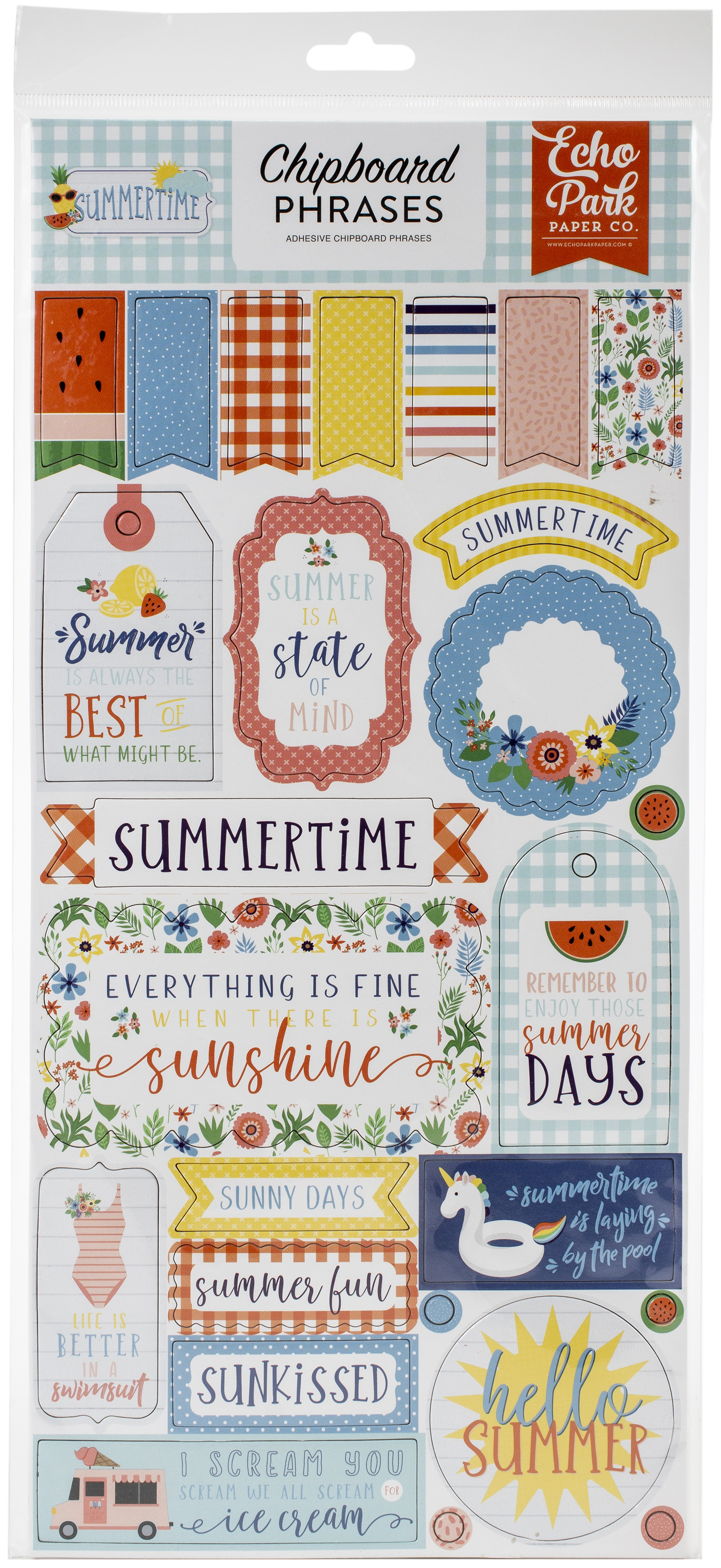 Summertime Chipboard 6X13-Phrases