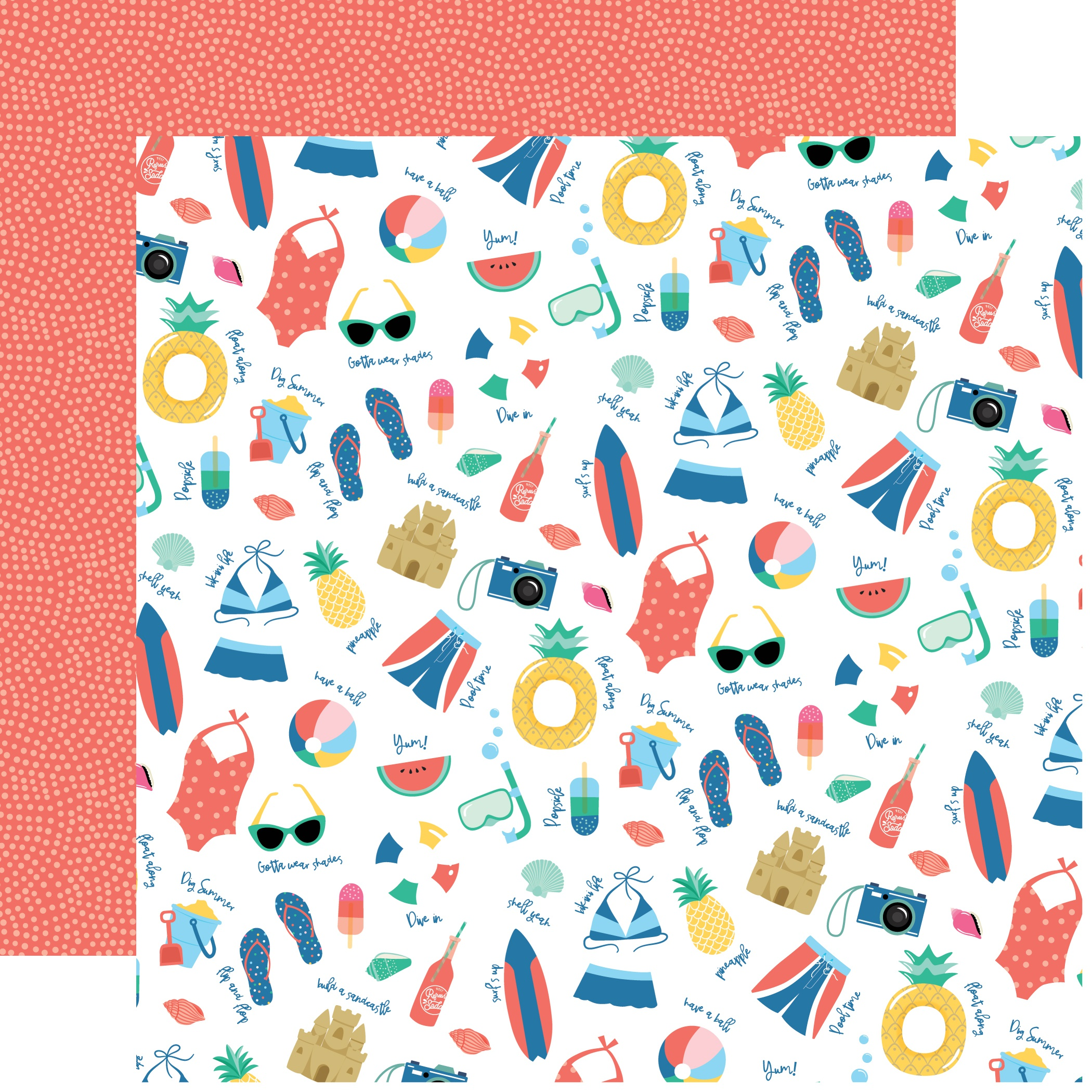 Dive Into Summer Double-Sided Cardstock 12X12-Pool Time