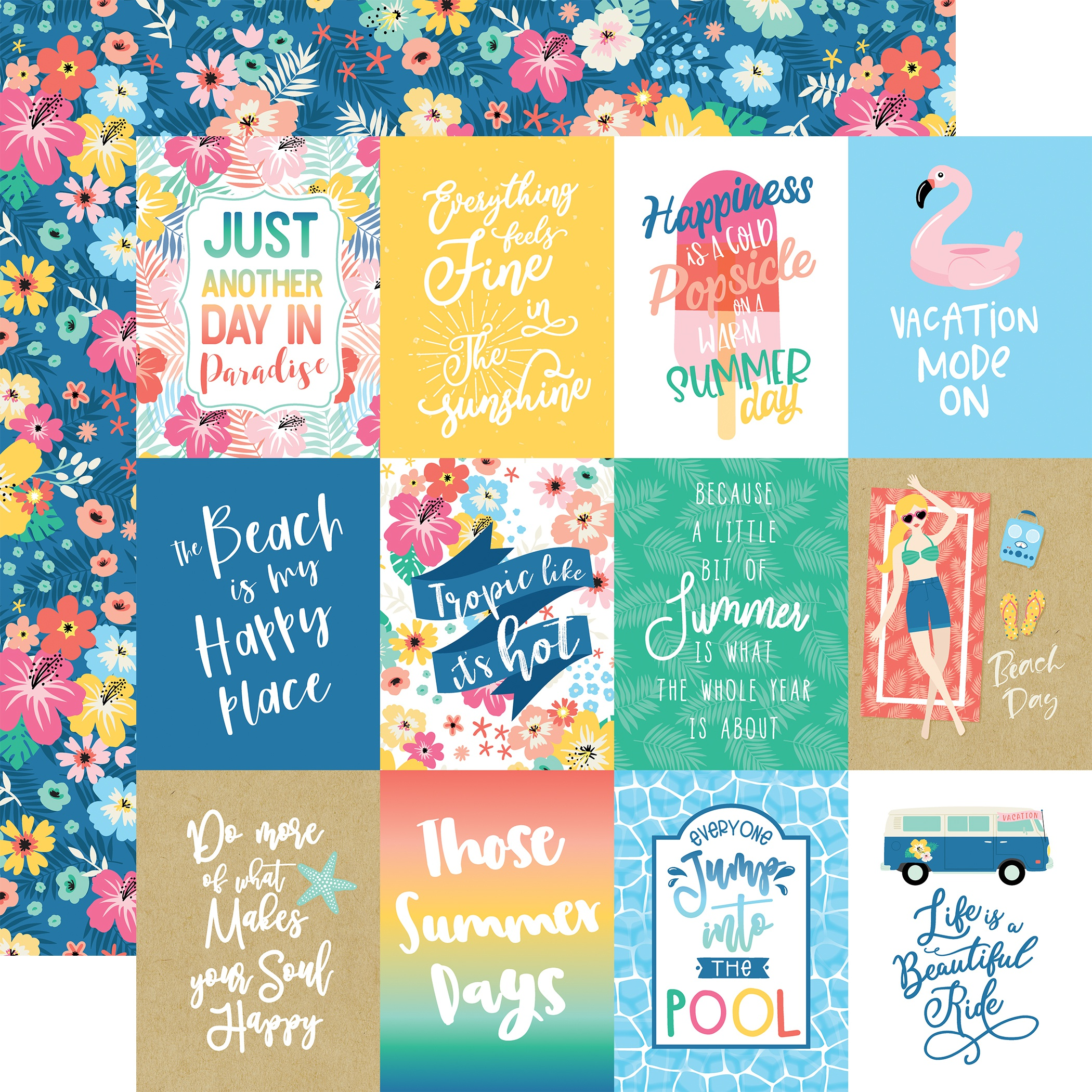 Dive Into Summer Double-Sided Cardstock 12X12-3X4 Journaling Cards
