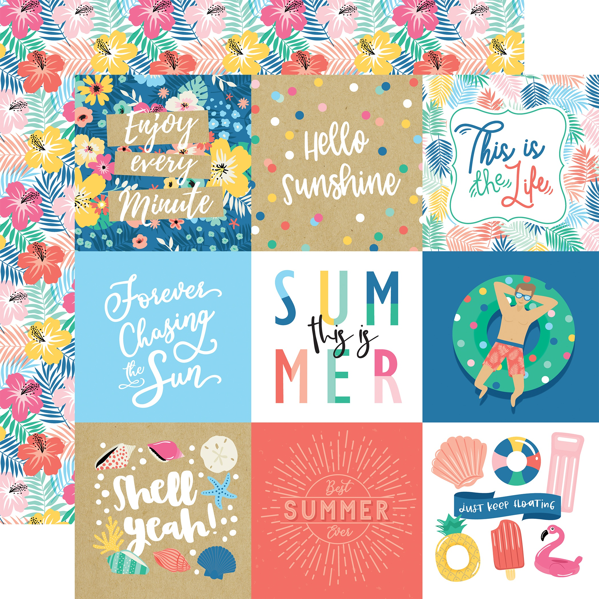 Dive Into Summer Double-Sided Cardstock 12X12-4X4 Journaling Cards