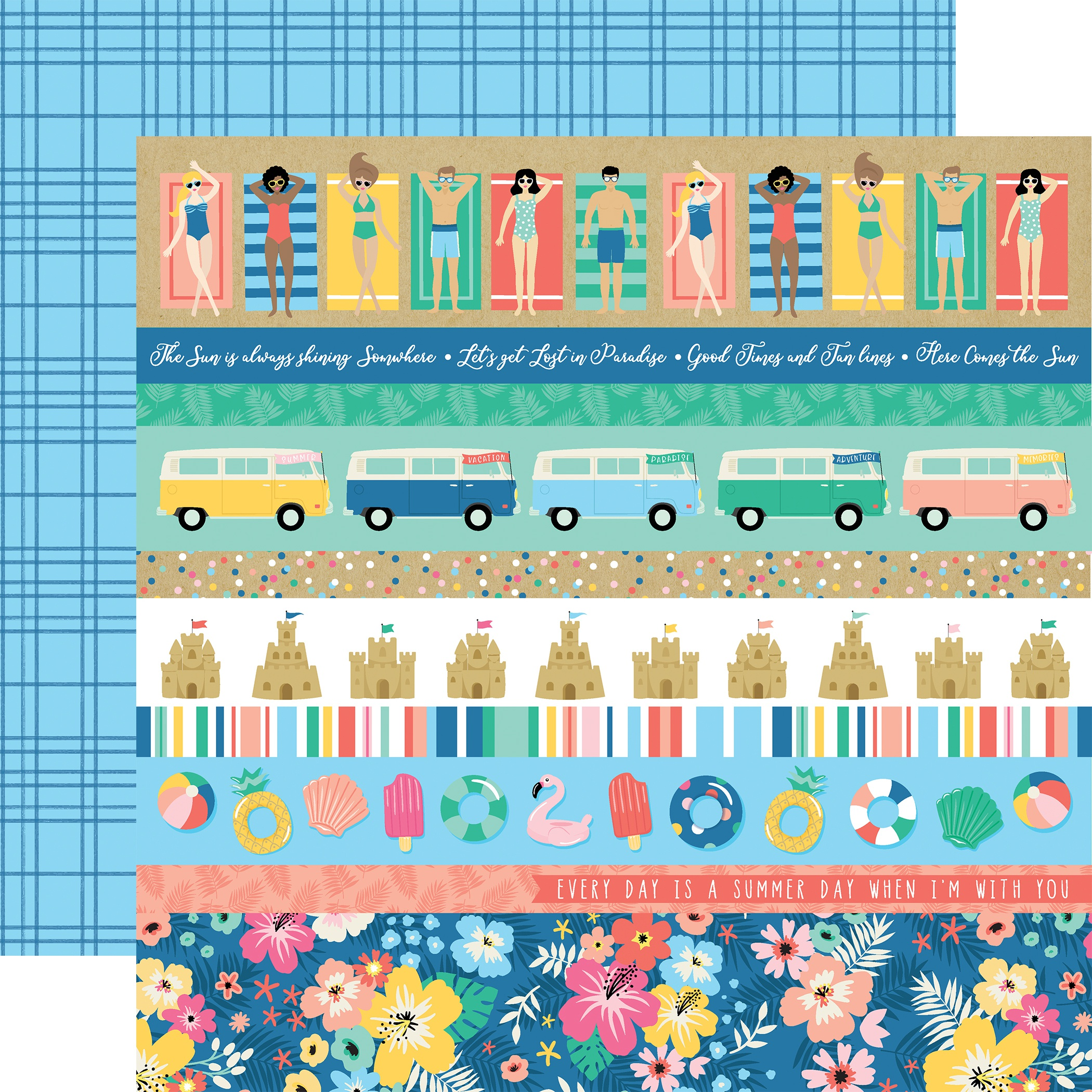 Dive Into Summer Double-Sided Cardstock 12X12-Border Strips