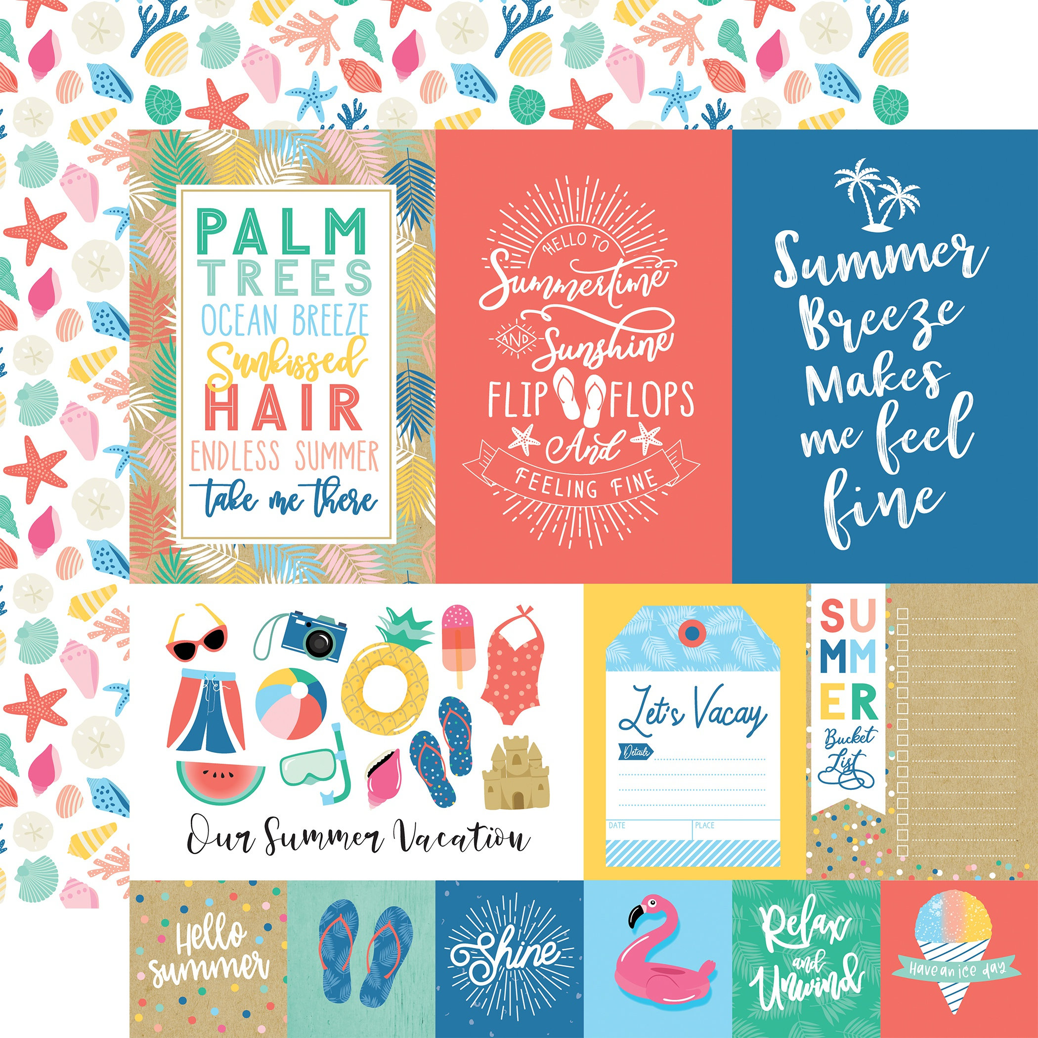 Dive Into Summer Double-Sided Cardstock 12X12-Multi Journaling Cards