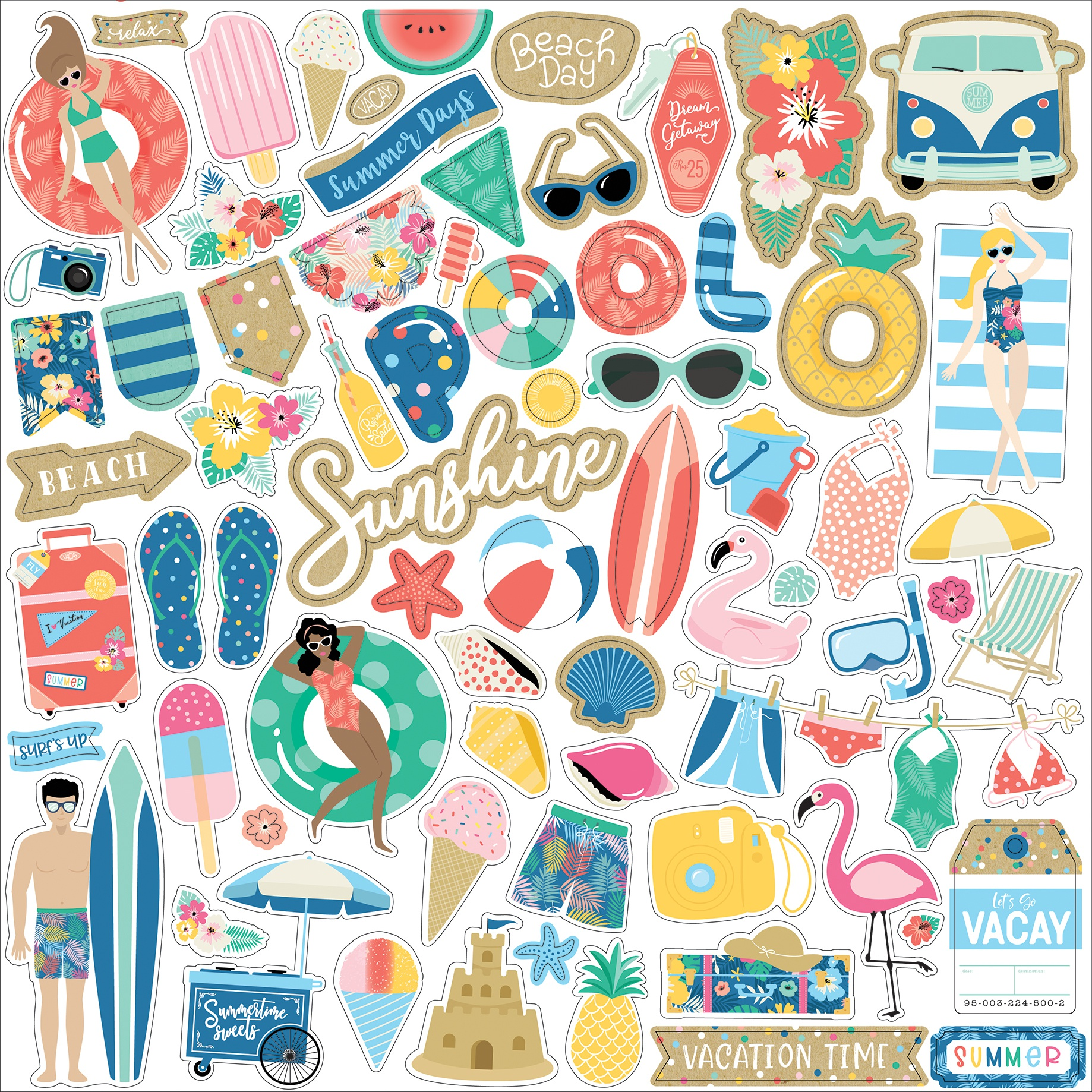 Dive Into Summer Cardstock Stickers 12X12-Elements
