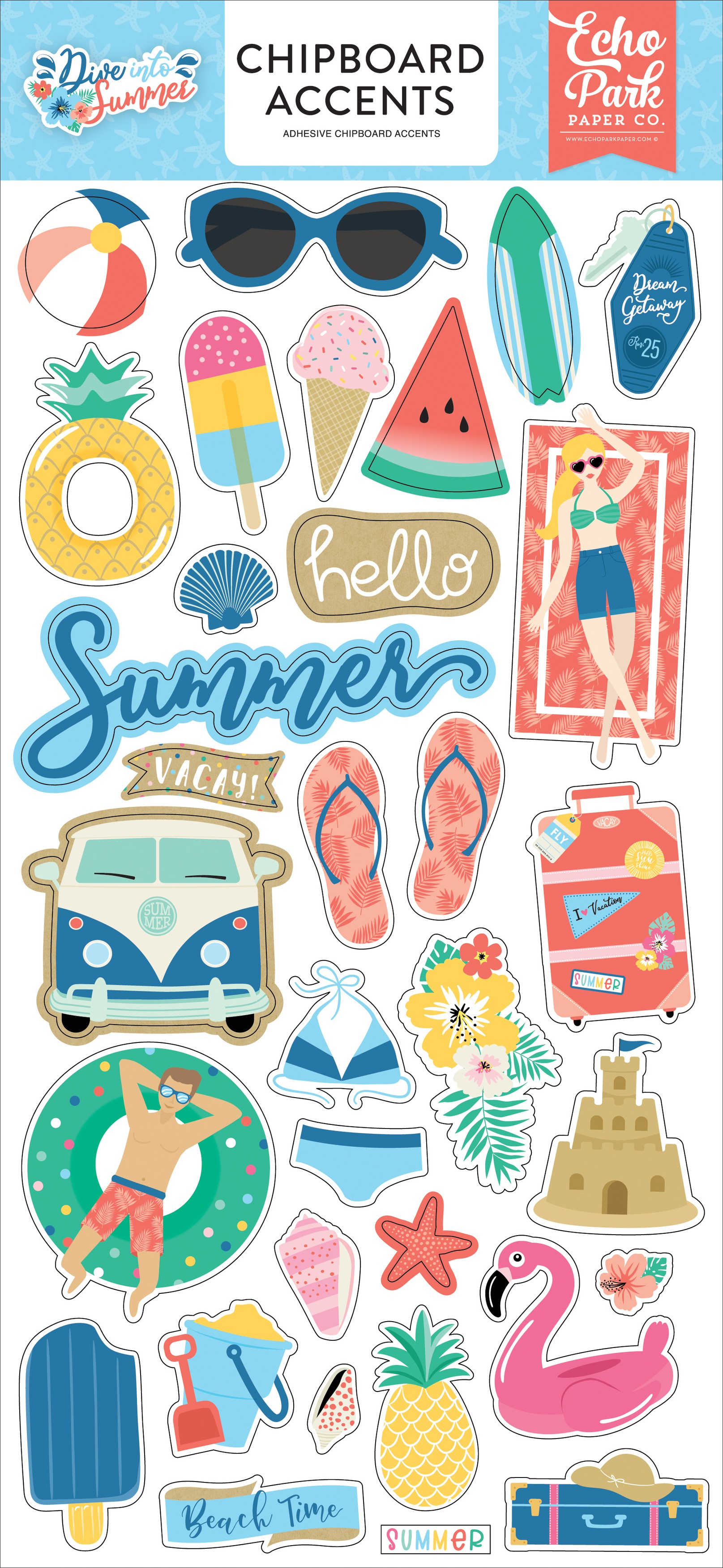 Dive Into Summer Chipboard 6X13-Accents