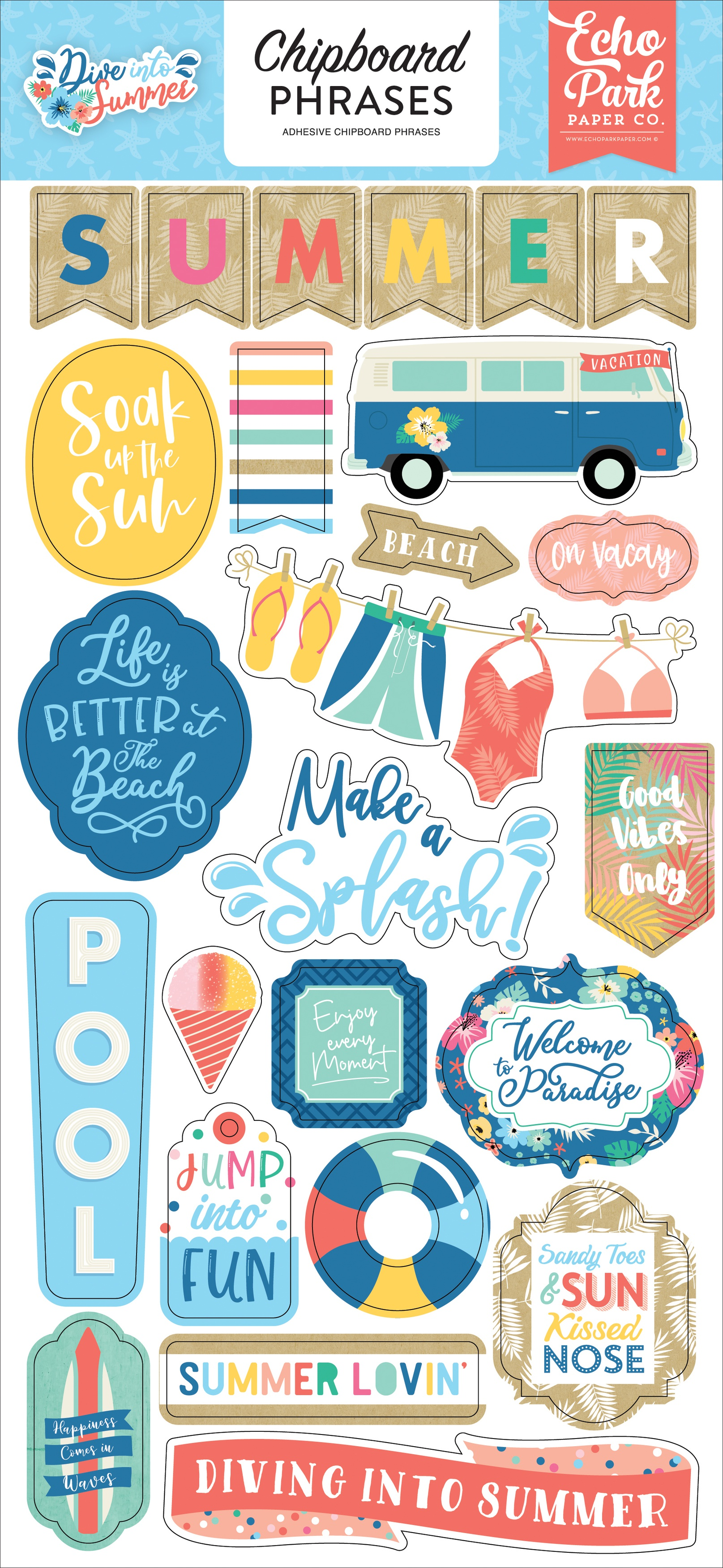 Dive Into Summer Chipboard 6X13-Phrases